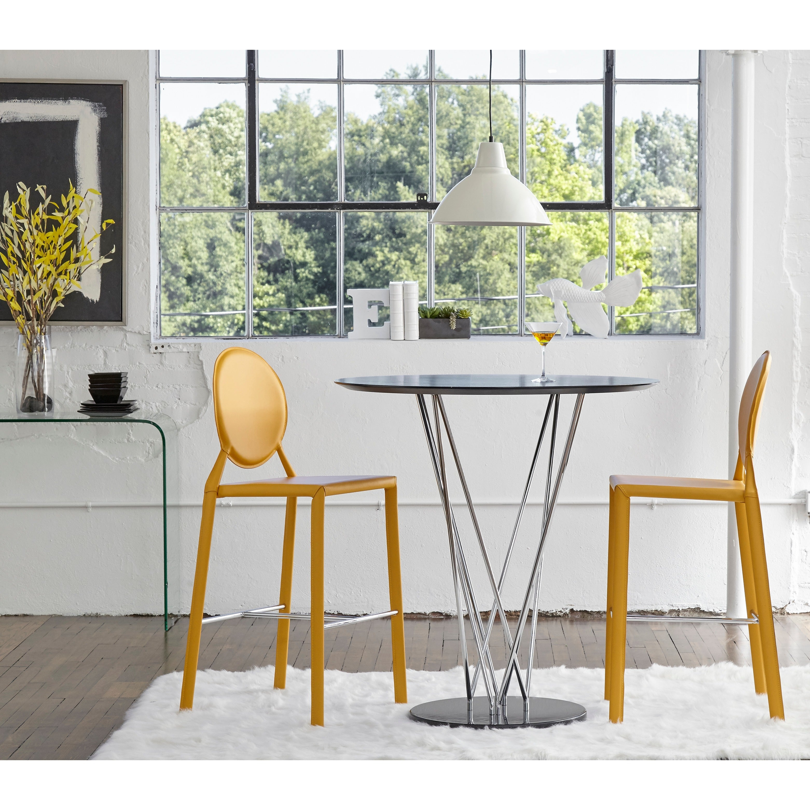 Isabella 26-inch Yellow Leather Counter Stool (Set of 2) - Free ...