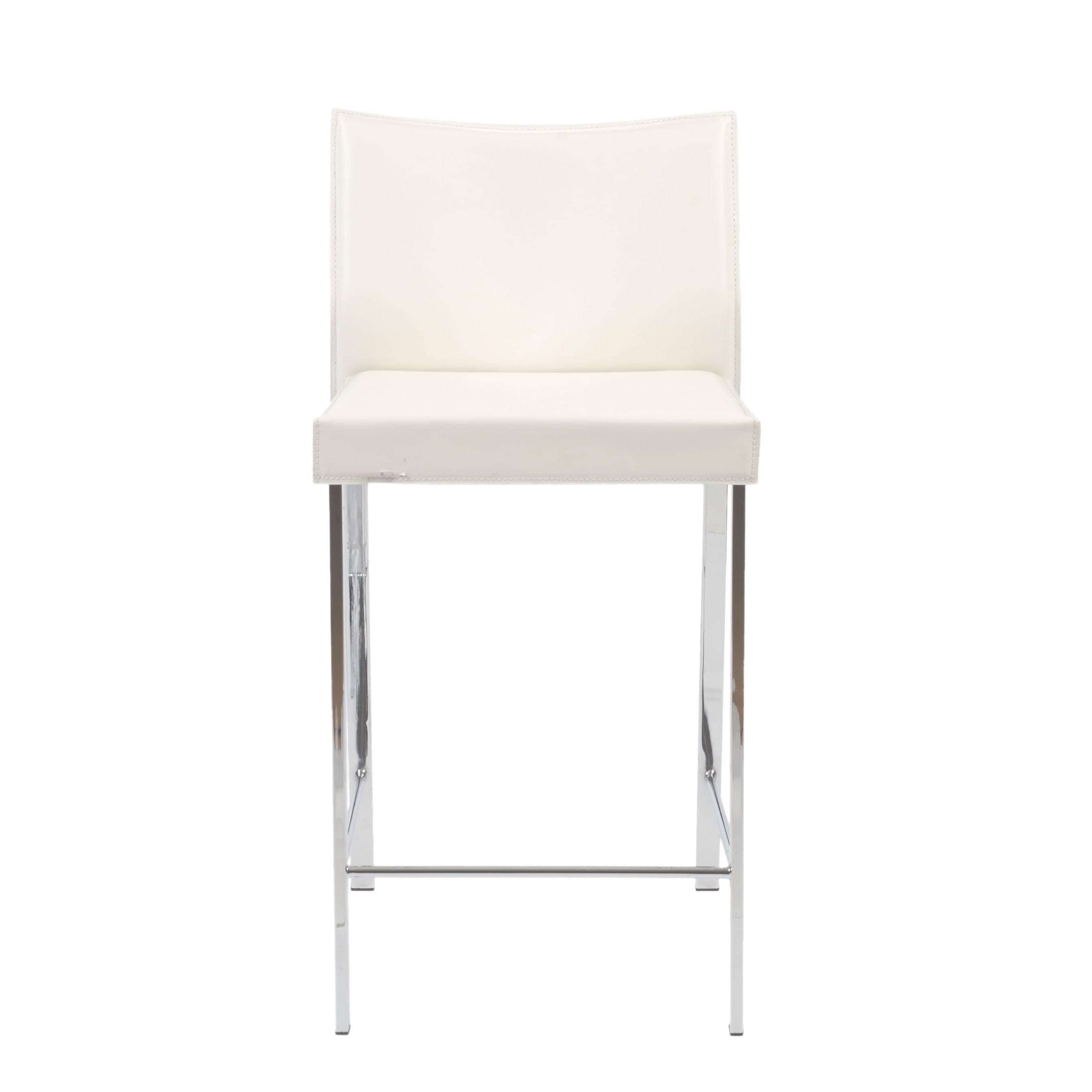 Riley 24 Inch White Leather Chrome Counter Stool Set Of 2 Free Shipping Today 10670326
