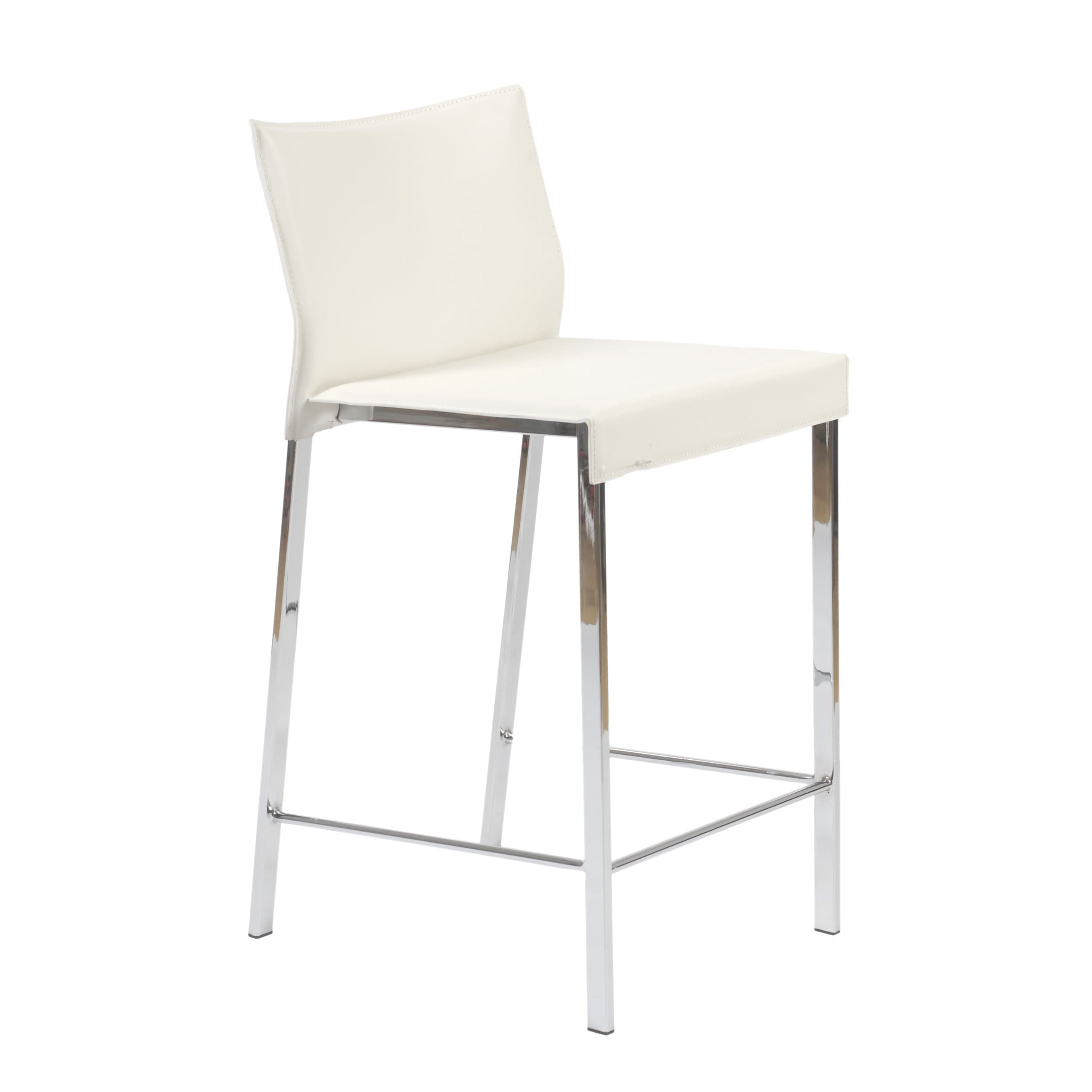 Shop riley 24 inch white leather chrome counter stool set of 2 free shipping today overstock com 10670326