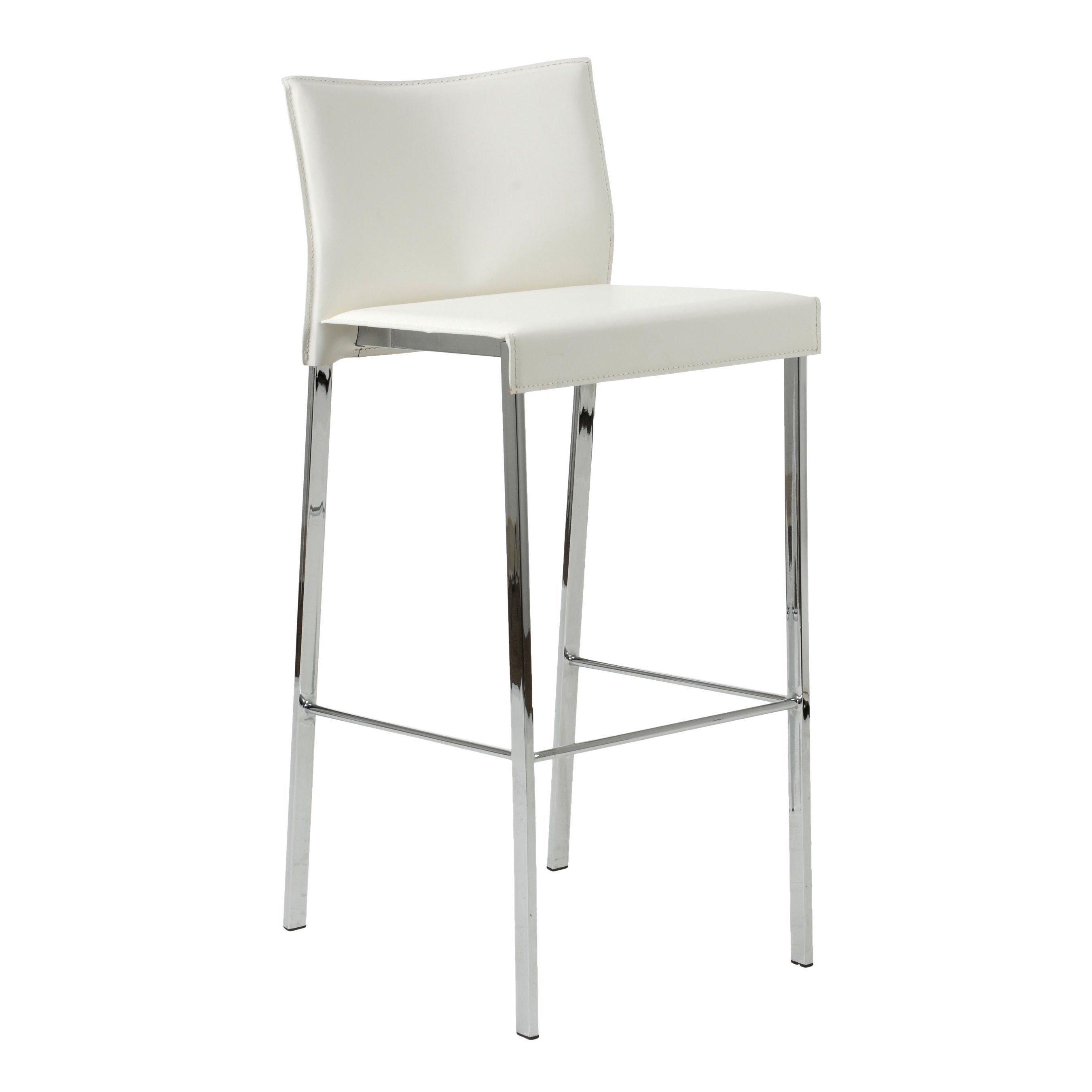 Riley 29 9 Inch White Leather Chrome Bar Stool Set Of 2 Free Shipping Today 10670329