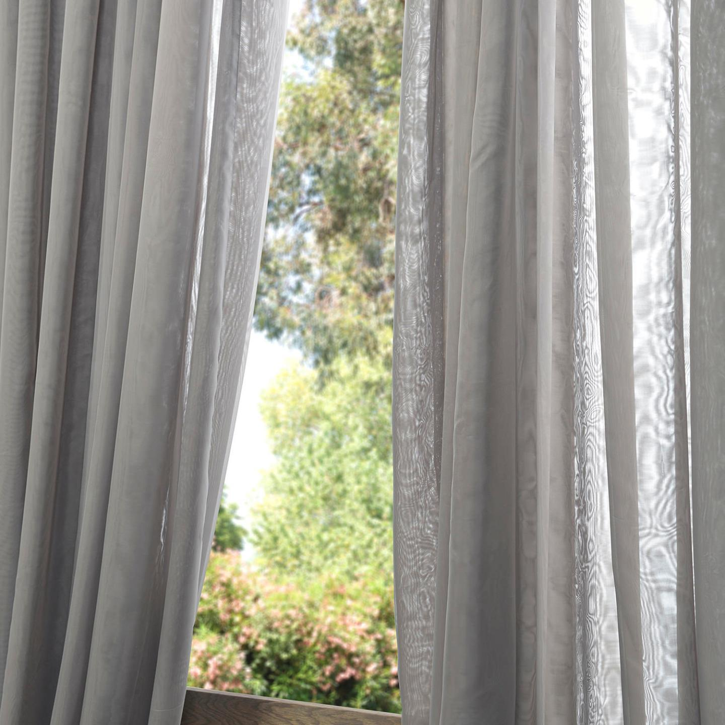 Exclusive Fabrics Signature Double Wide Grey Sheer Curtain Panel On Free Shipping Orders Over 45 10670344