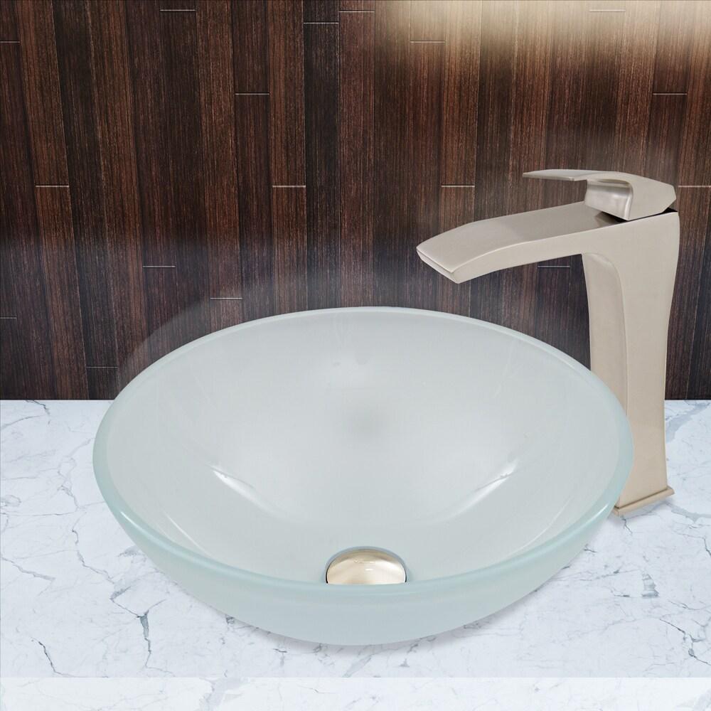 Shop VIGO White Frost Glass Vessel Sink and Blackstonian Faucet Set ...