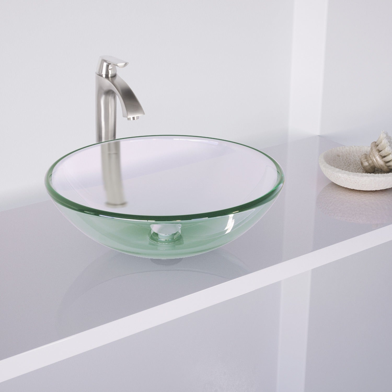 Shop VIGO Crystalline Glass Vessel Sink and Linus Vessel Faucet Set ...