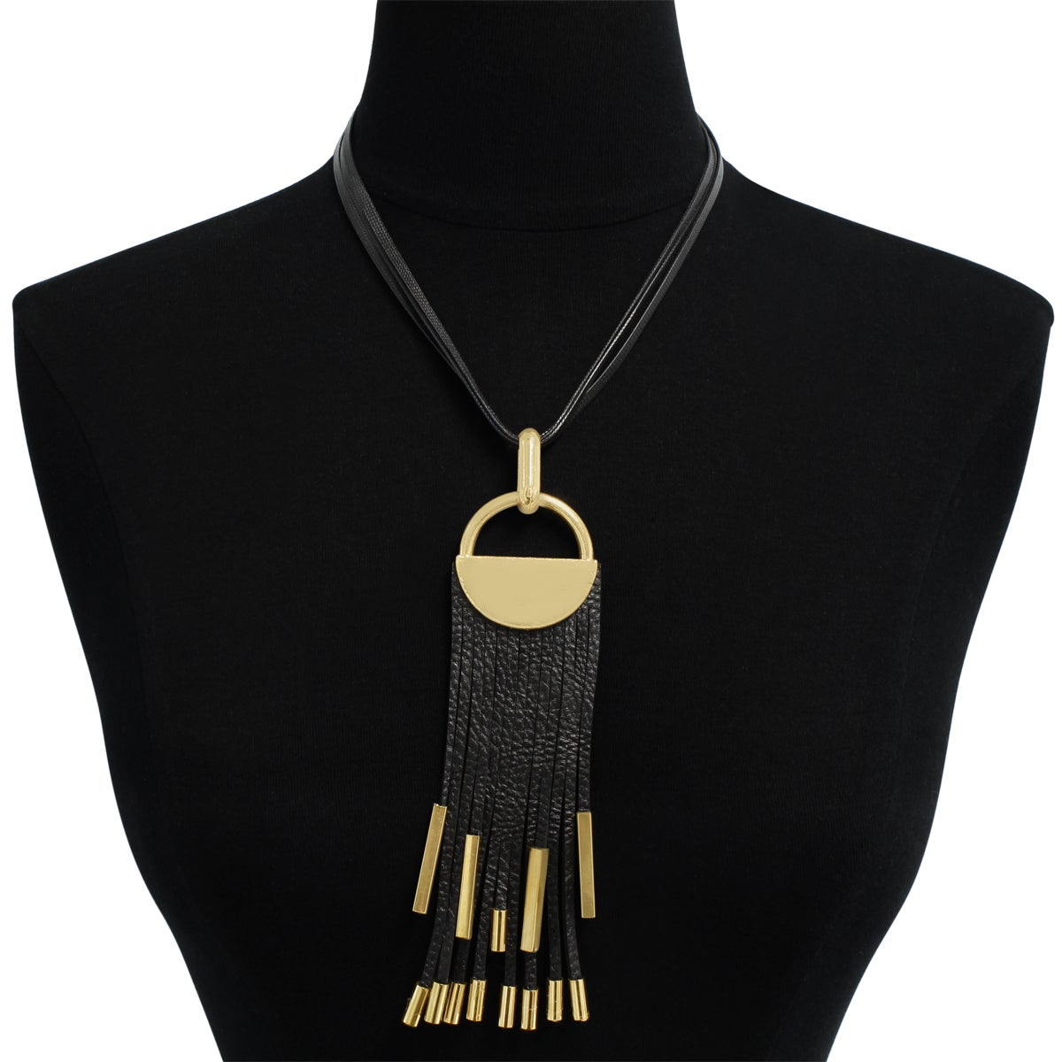 Shop Black Vegan Leather Gold Over Brass Statement Necklace Free