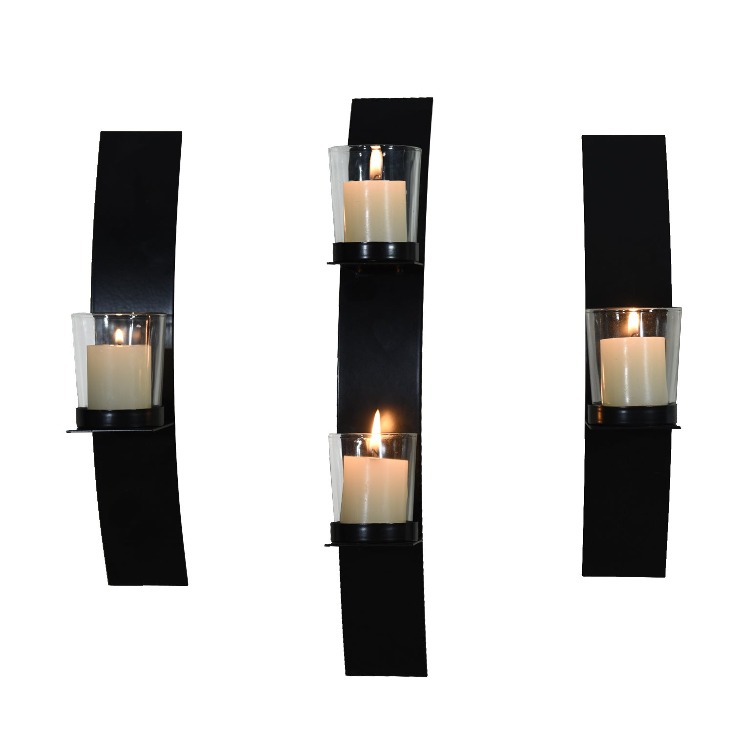 Attrayant Adeco Metal Wall Sconces With Glass Candle Holder Set Of 3   Free Shipping  Today   Overstock.com   17738165