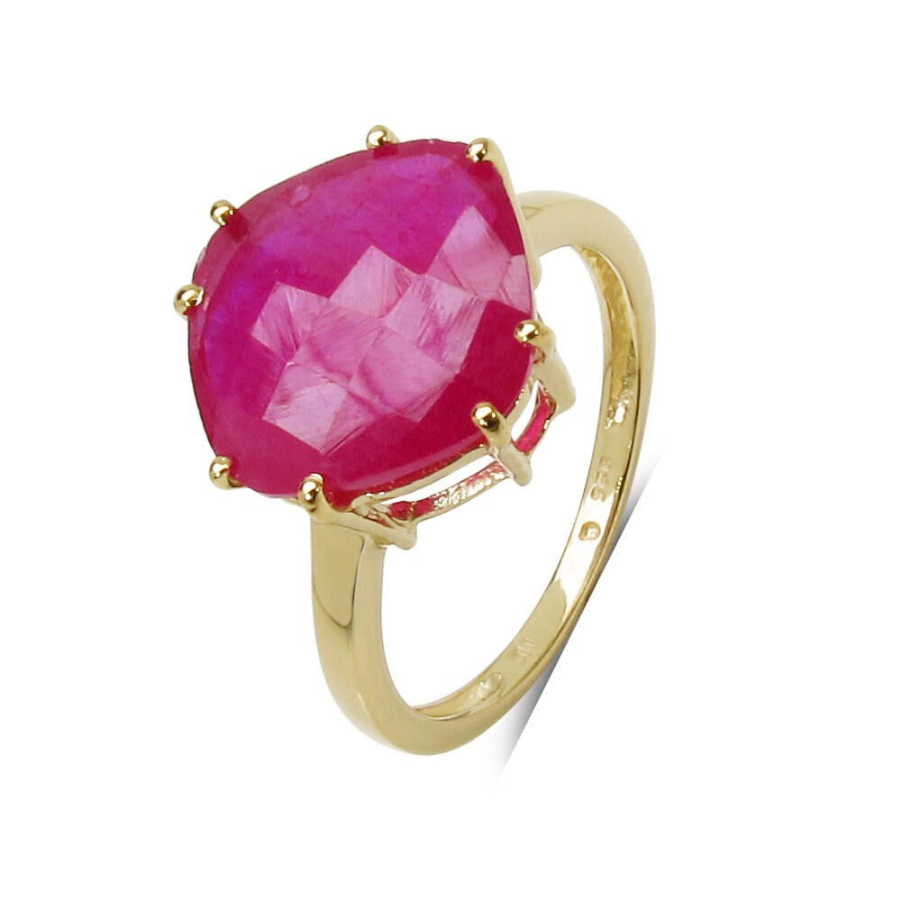 Shop Malaika Yellow Goldplated Sterling Silver 9Ct Ruby Ring - On ...