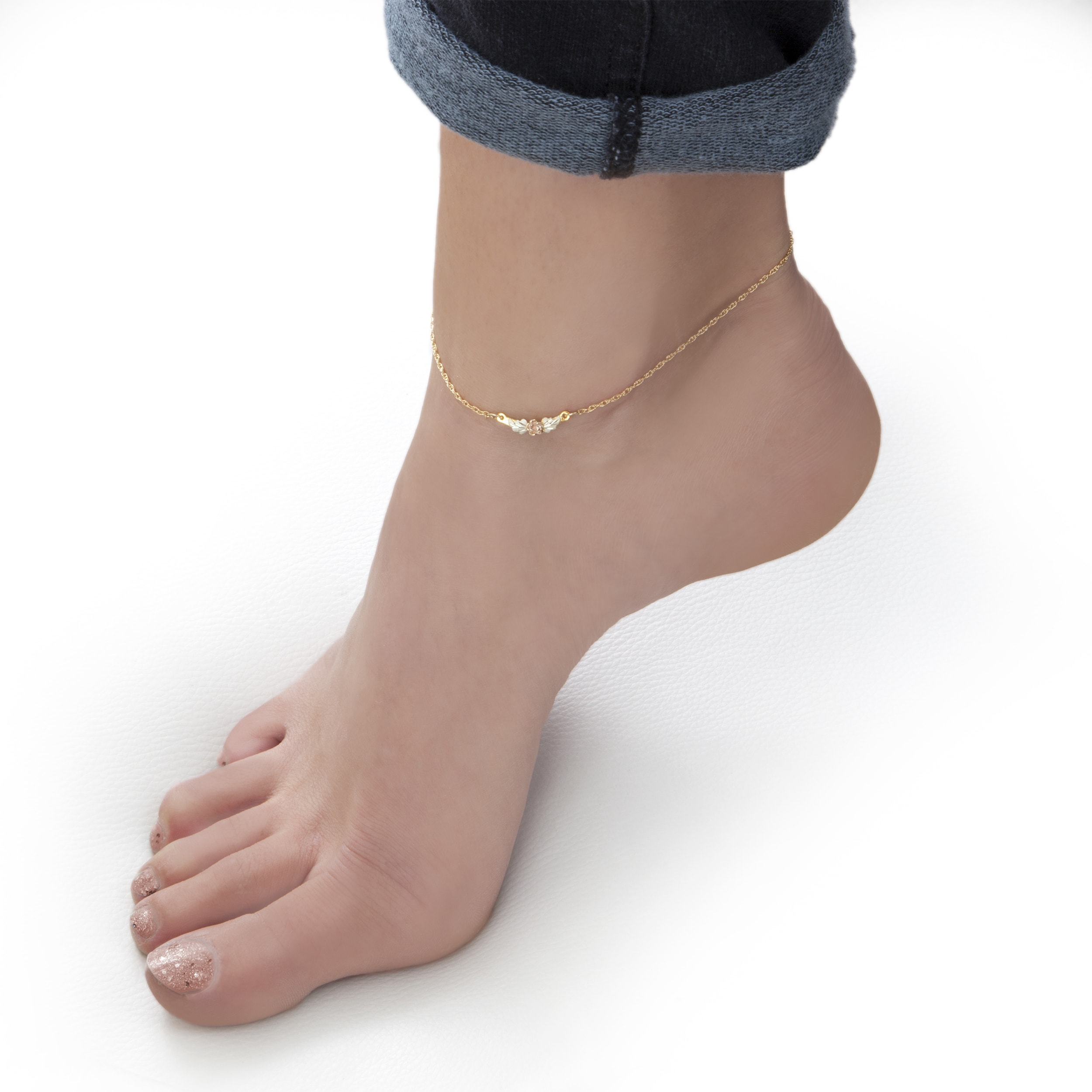 two com gold in ankle overstock palmbeach heart popular watches shipping today tone jewelry tailored product anklet bracelets bracelet puffed free