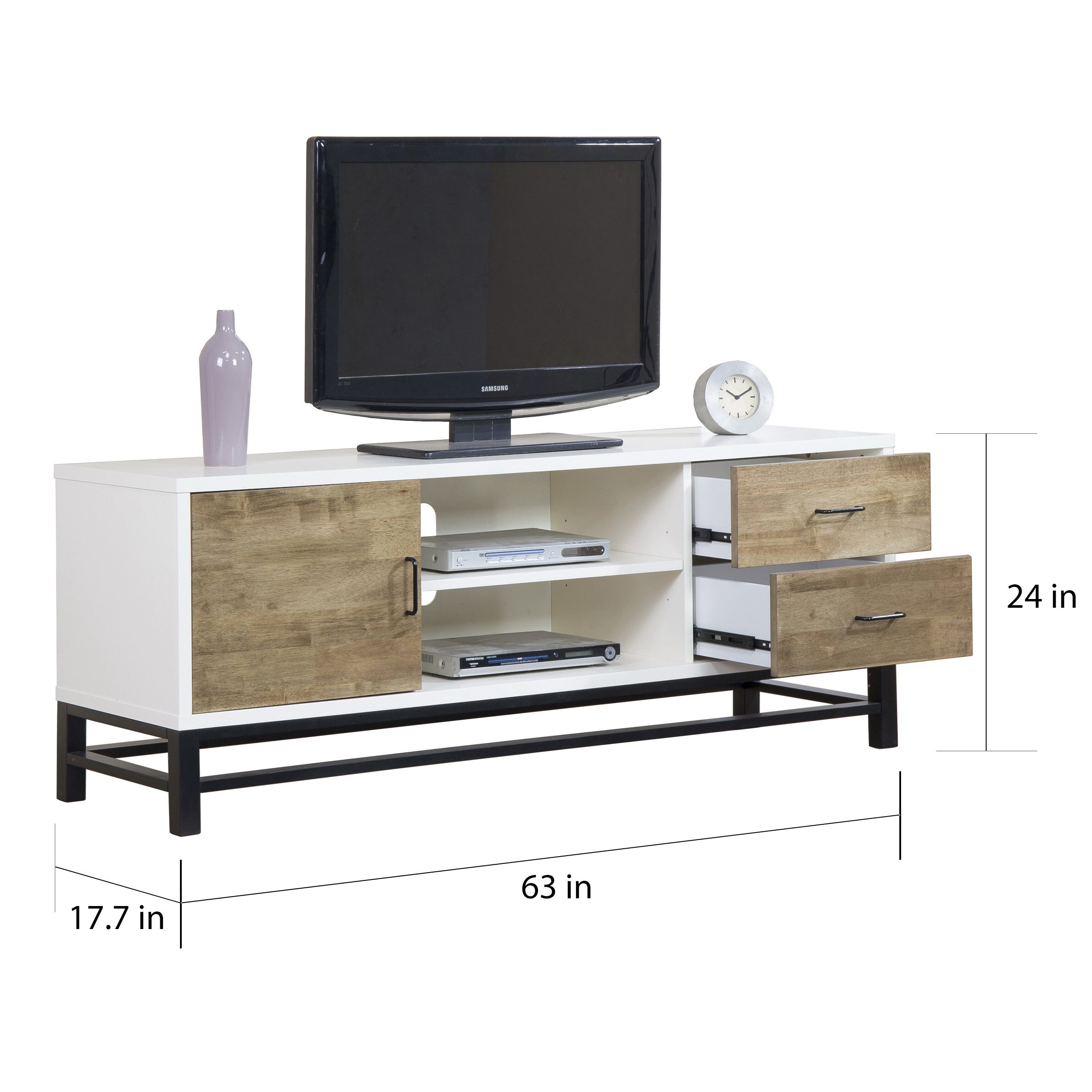 Shop Henna 63 Inch Entertainment Center Console Free Shipping