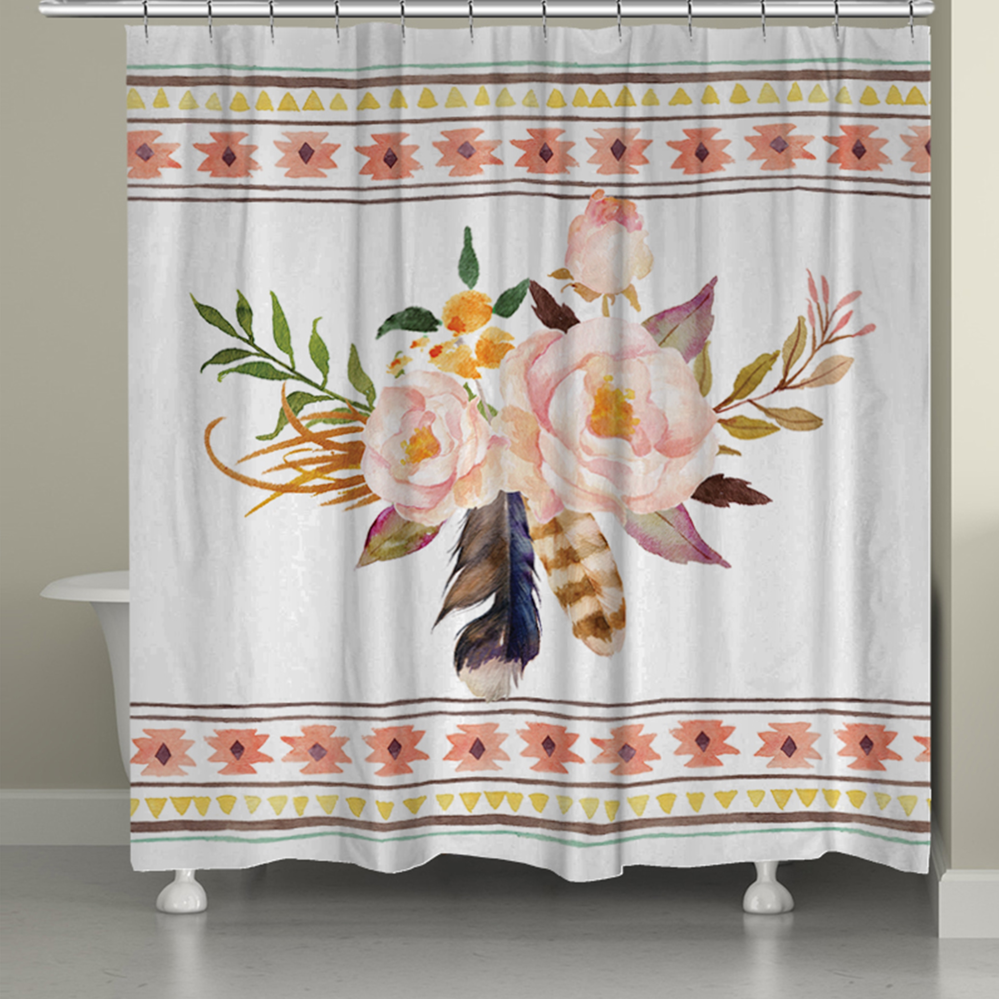Laural Home Bohemian Flowers Shower Curtain (71 Inch X 74 Inch)   Free  Shipping Today   Overstock.com   17740091