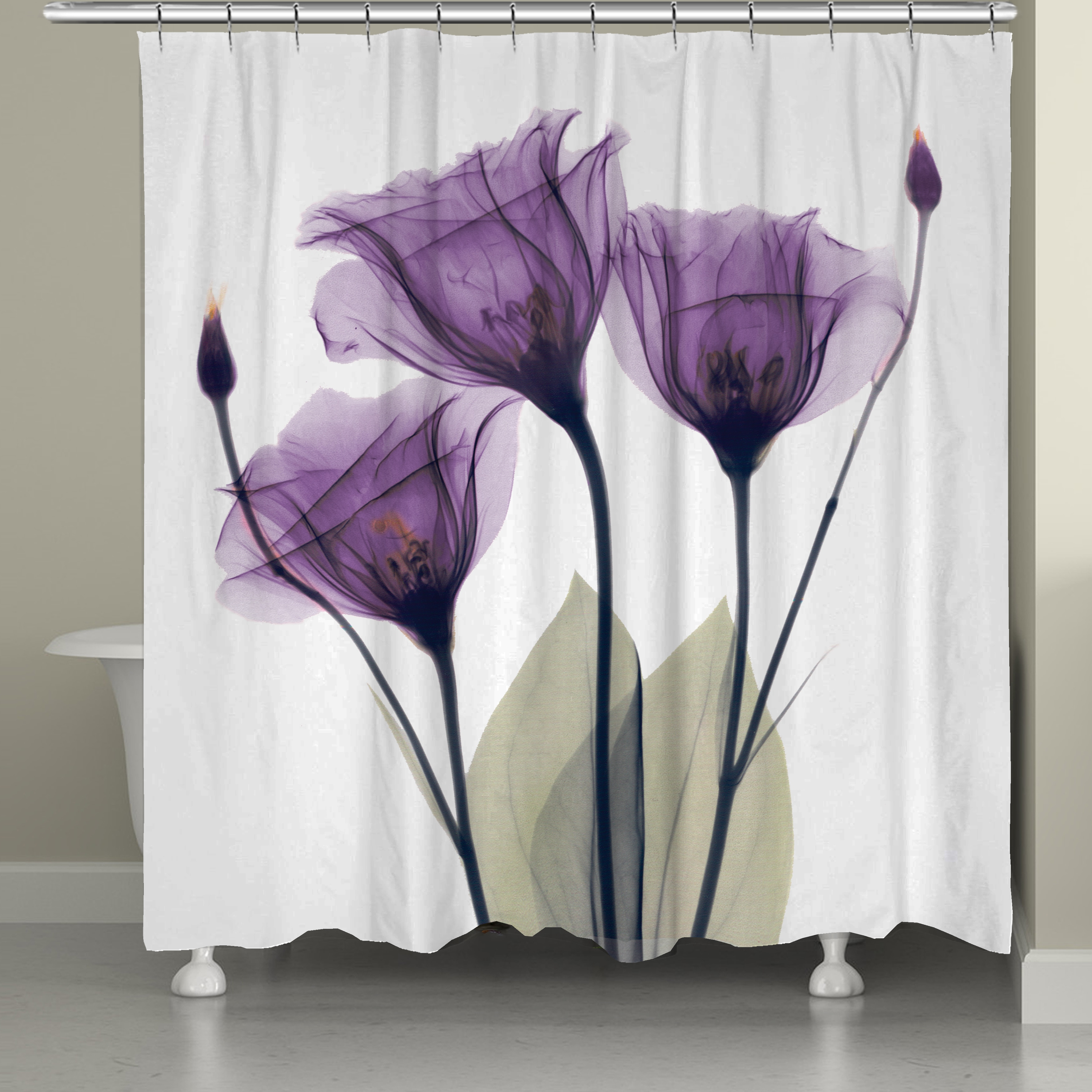 Shop Laural Home X Ray Lavender Floral 71 72 Inch Shower Curtain