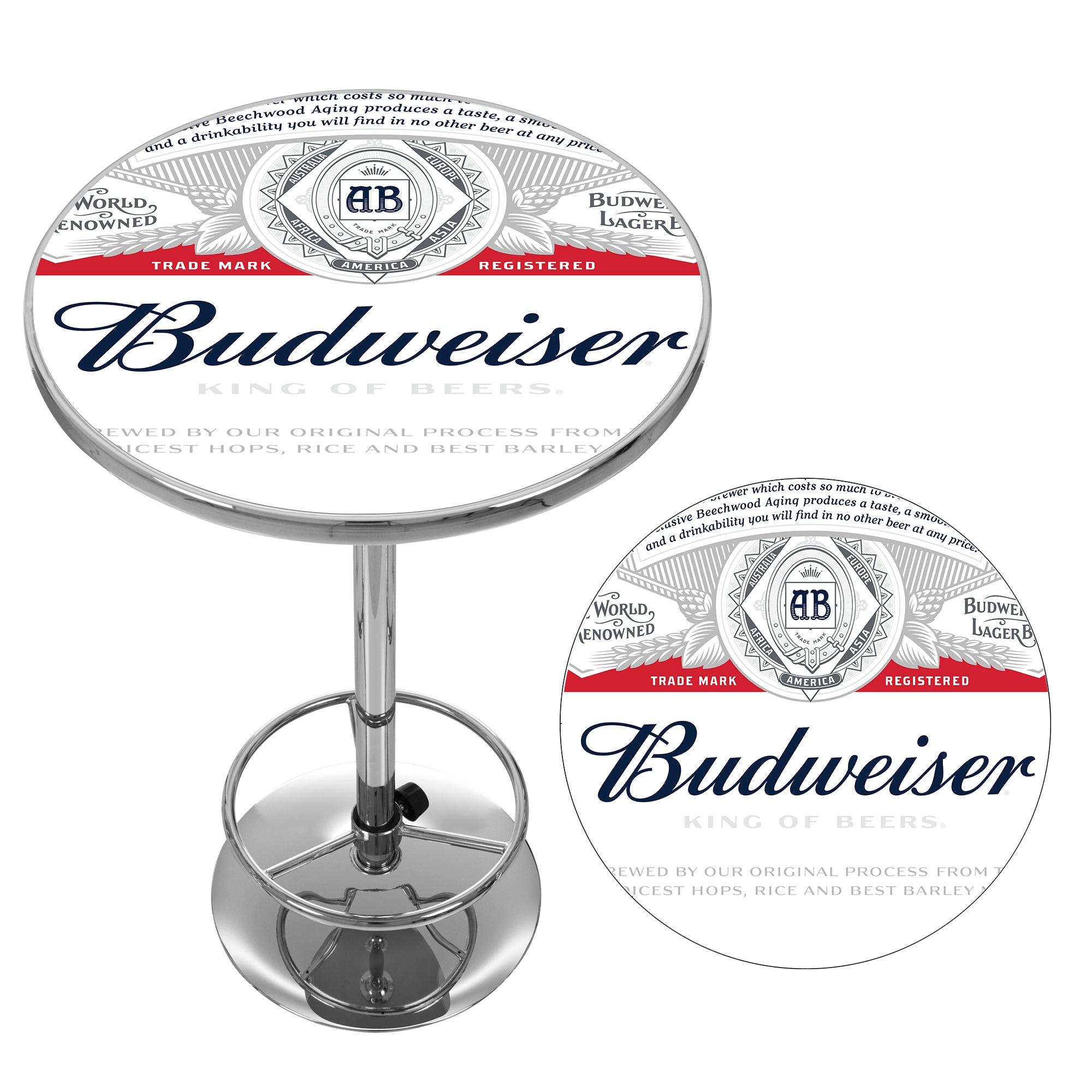 Budweiser chrome pub table label design free shipping today budweiser chrome pub table label design free shipping today overstock 17740816 watchthetrailerfo