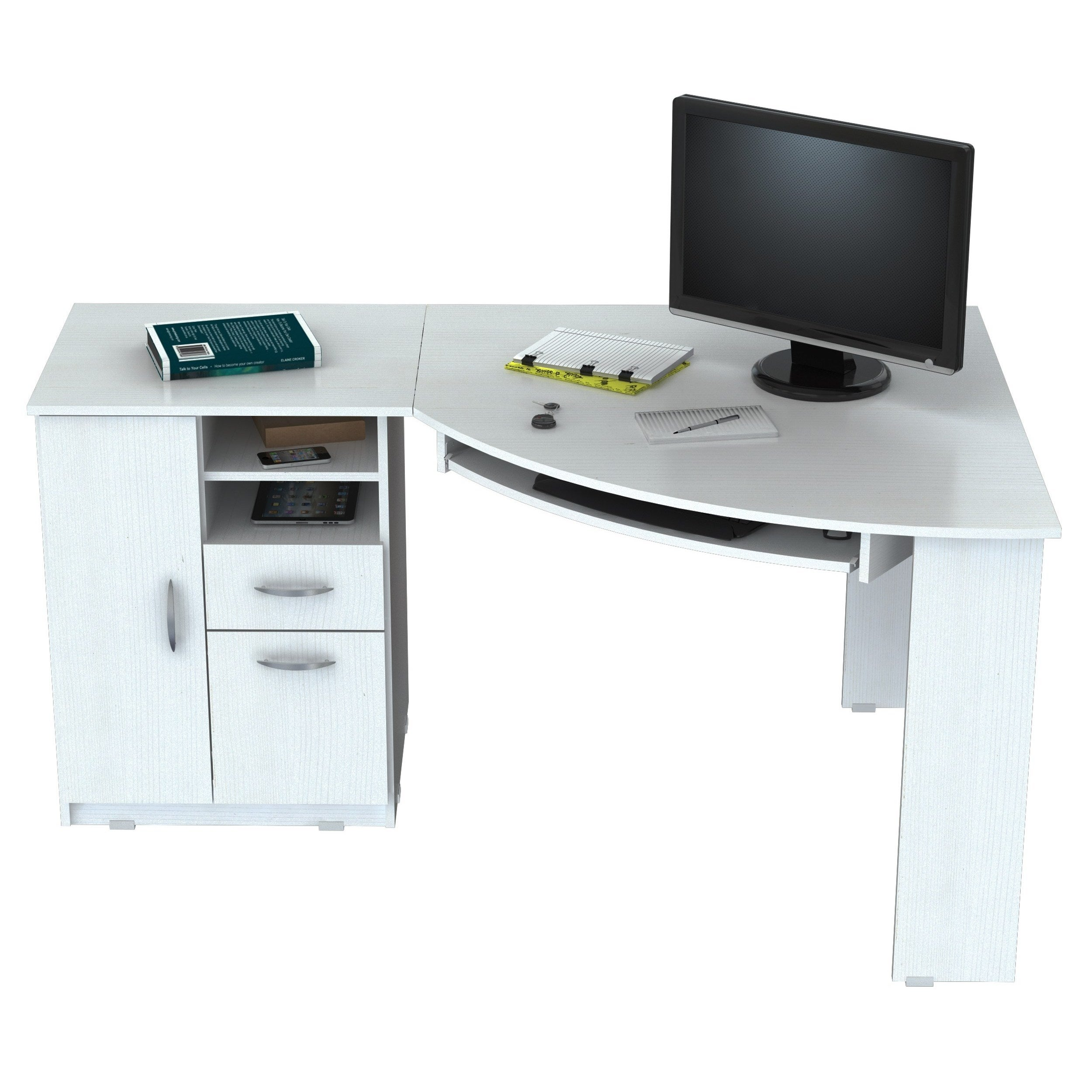 word 39office desks workstations39and. Inval Laricina White Corner Desk - Free Shipping Today Overstock 17740651 Word 39office Desks Workstations39and