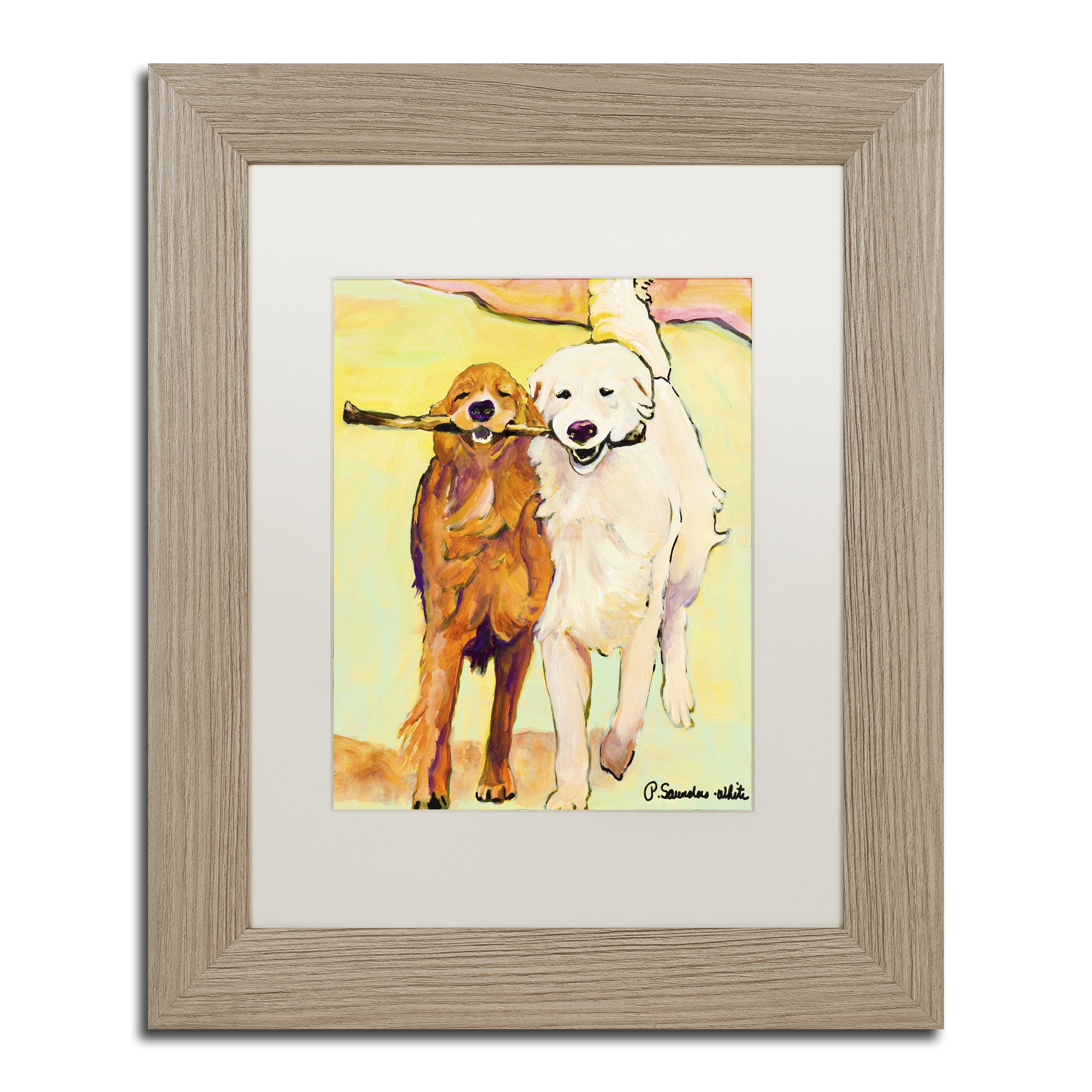 Pat Saunders-White \'Stick With Me 1\' White Matte, Birch Framed Wall ...