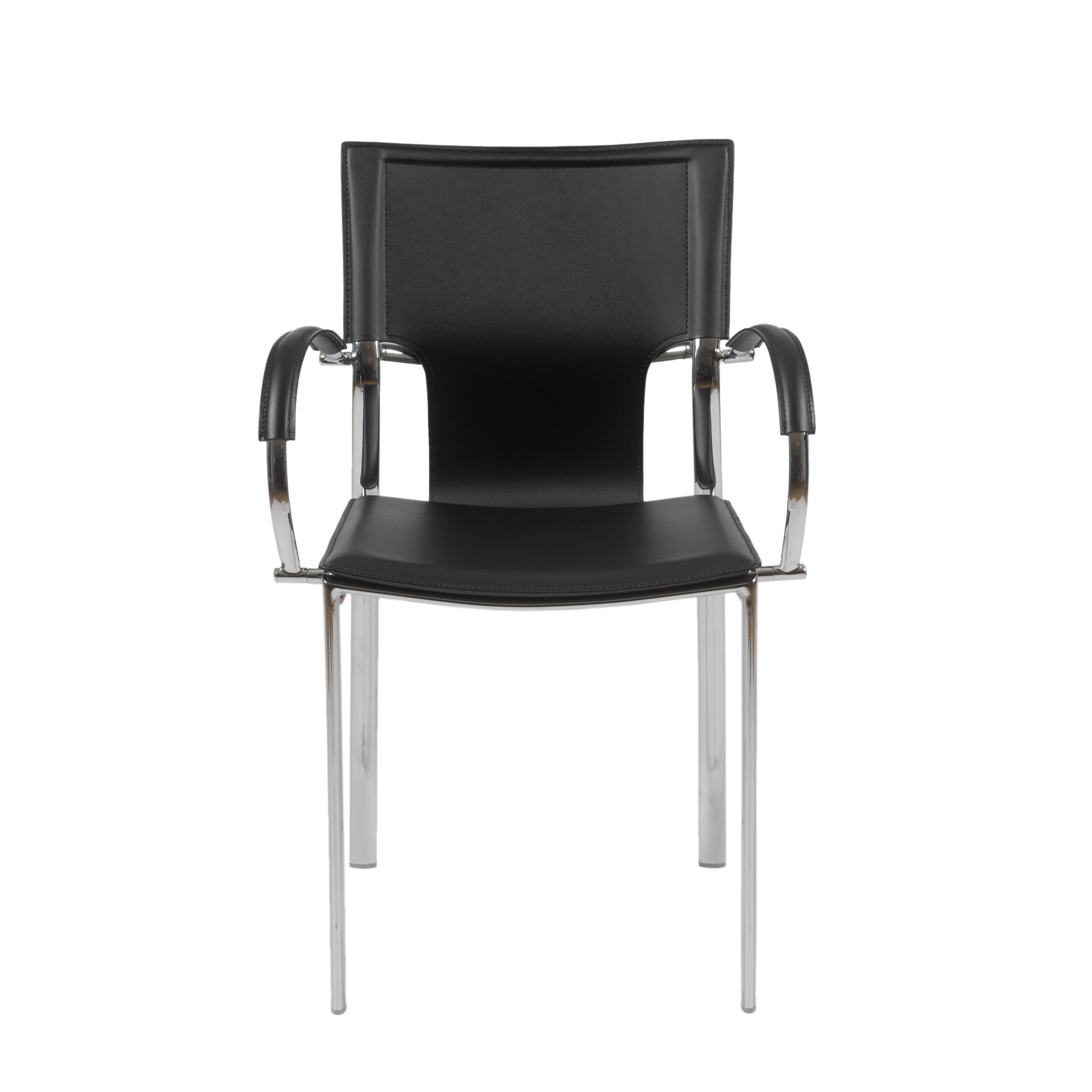 shop vinnie black leather chrome arm chairs set of 2 free