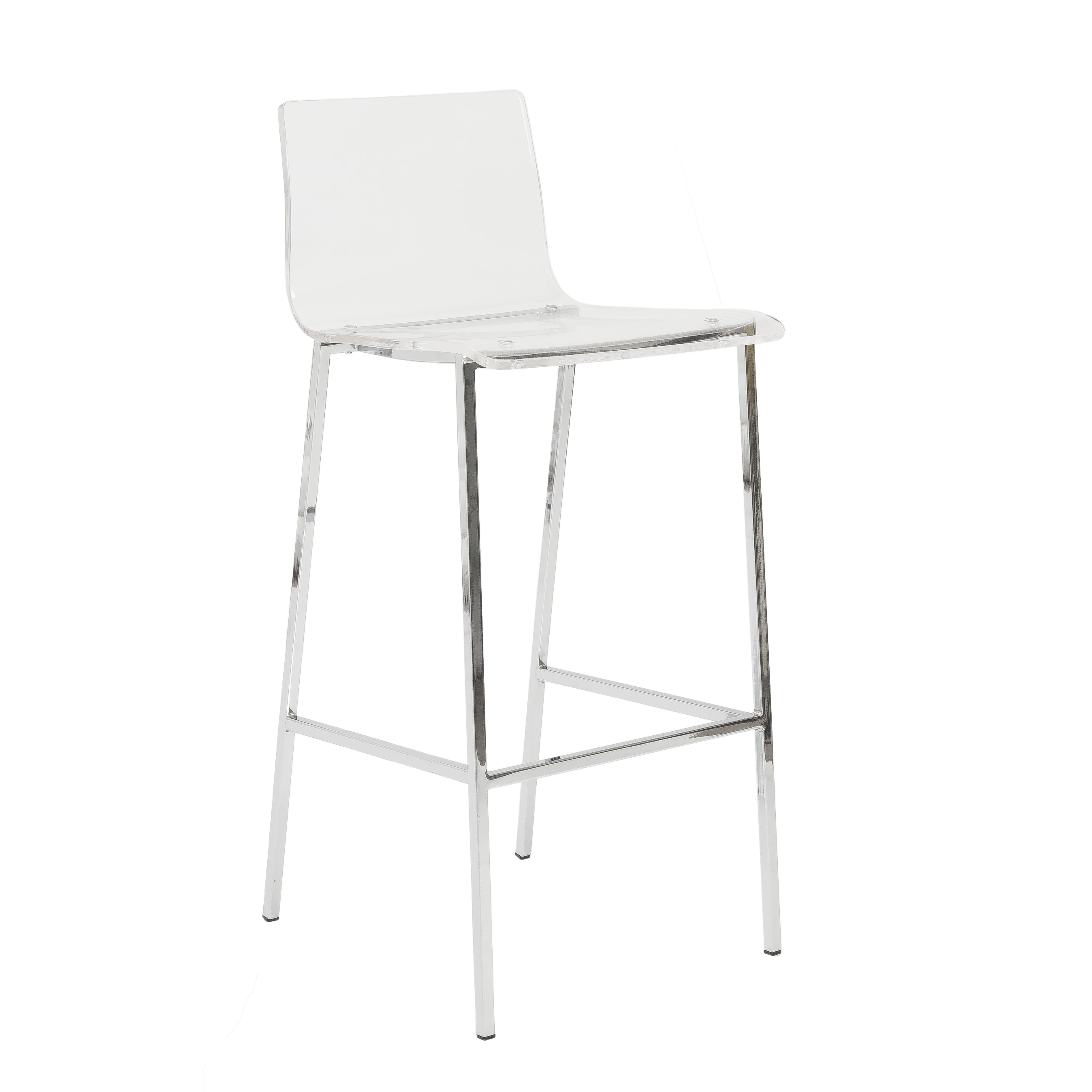 Shop chloe 30 inch clear chrome bar stool set of 2 free shipping today overstock com 10677028