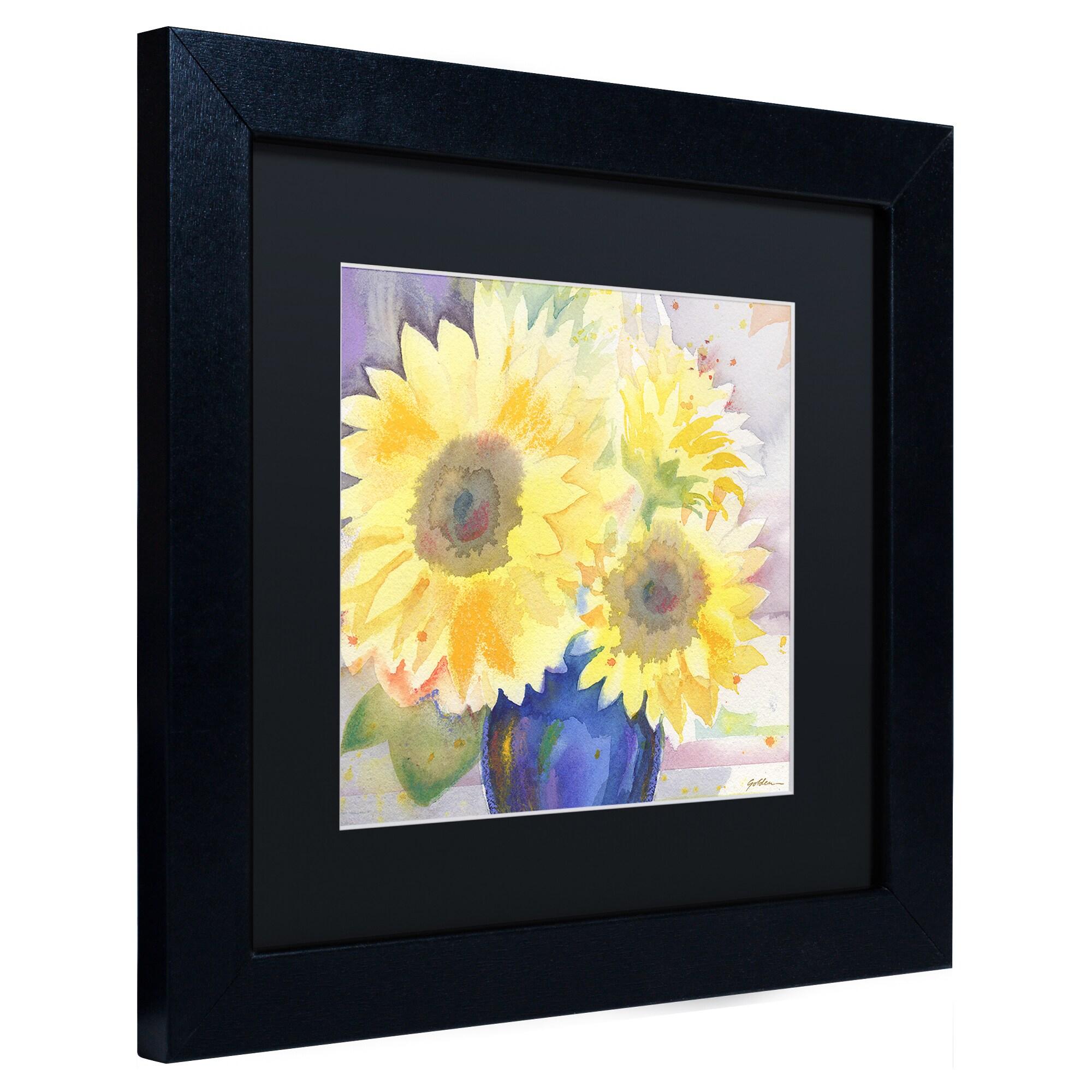 Shop Sheila Golden \'White Iris\' Black Matte, Black Framed Wall Art ...