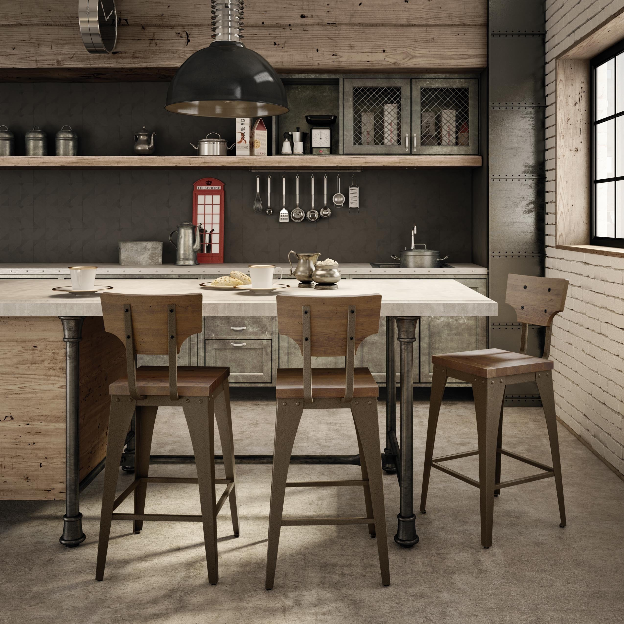 Shop Carbon Loft Kettering Metal and Wood Barstool - Free Shipping ...