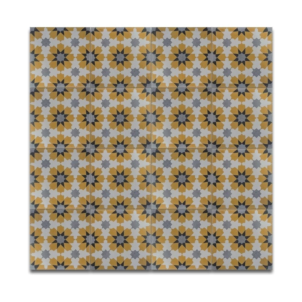 Ahfir Gold And Grey Stars Handmade Moroccan 8 X Inch Cement Granite Floor Or Wall Tile Case Of 12 On Free Shipping Today