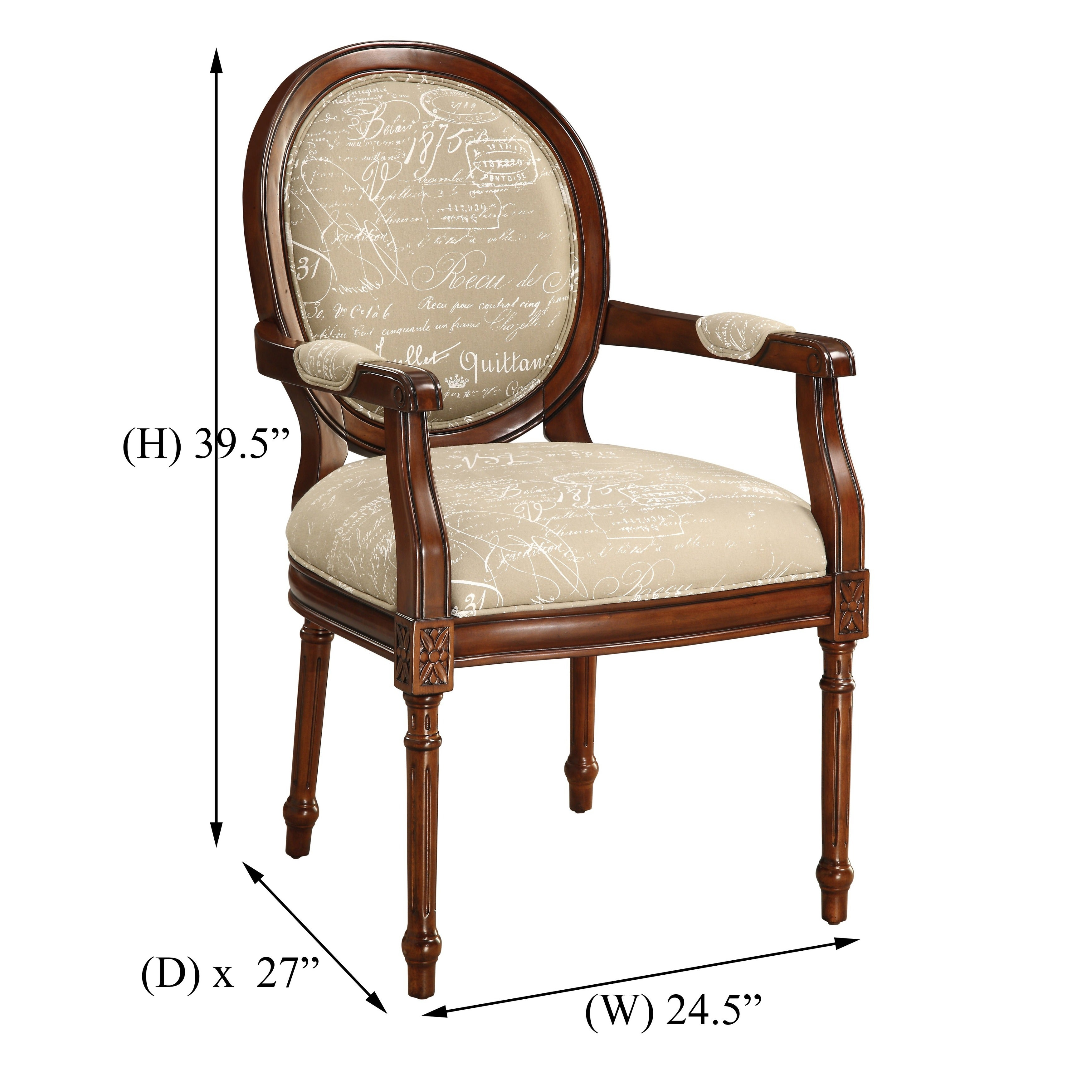 Shop Somette Tan Script Louis XVI Accent Armchair   Free Shipping Today    Overstock.com   10687019