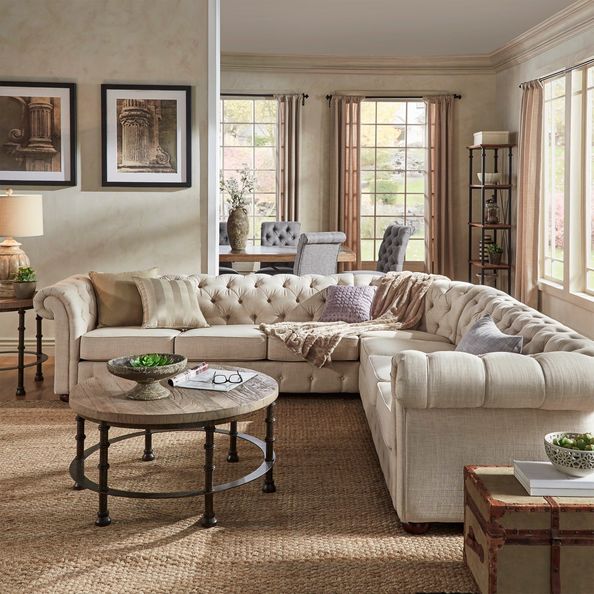 Knightsbridge Tufted Scroll Arm Chesterfield 7-seat L-shaped Sectional by  iNSPIRE Q Artisan - Free Shipping Today - Overstock.com - 17755614