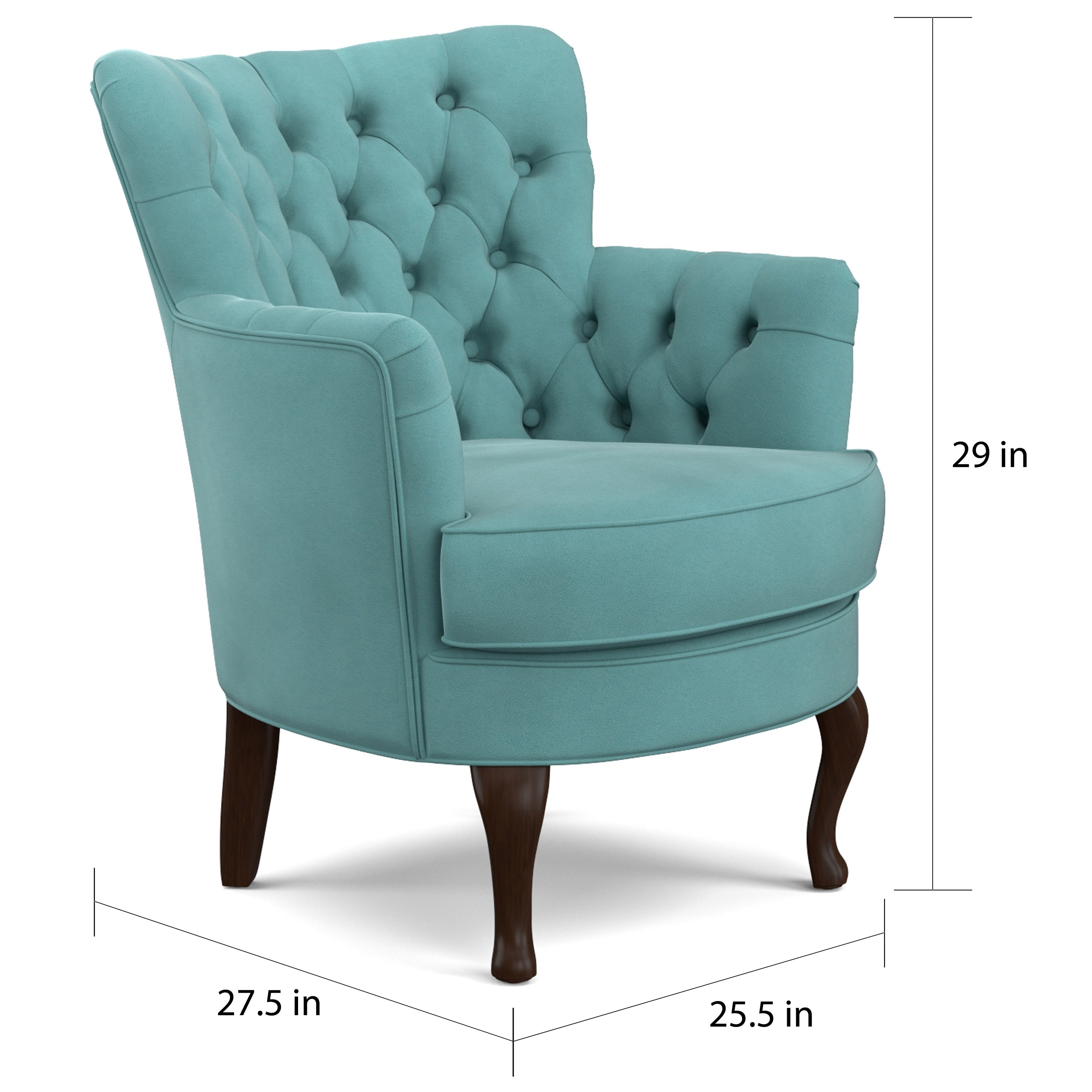 Bon Shop Handy Living Priscilla Turquoise Blue Velvet Petite Arm Chair   On  Sale   Free Shipping Today   Overstock.com   10694251
