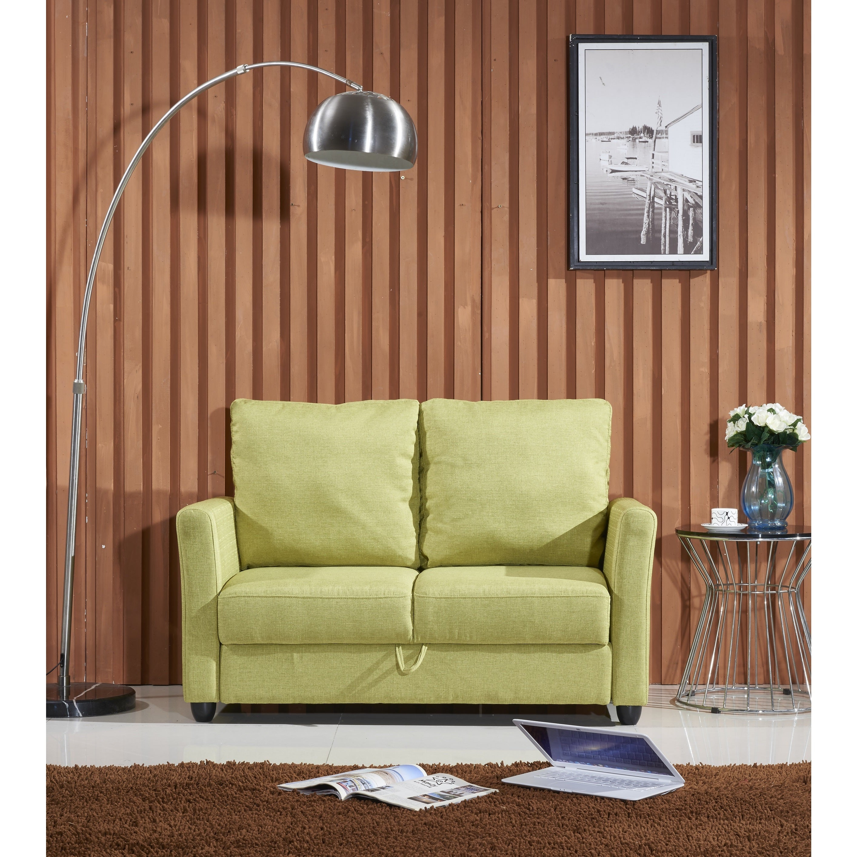Exceptional Adia Modern Fabric Loveseat With Storage   Free Shipping Today   Overstock    17757007