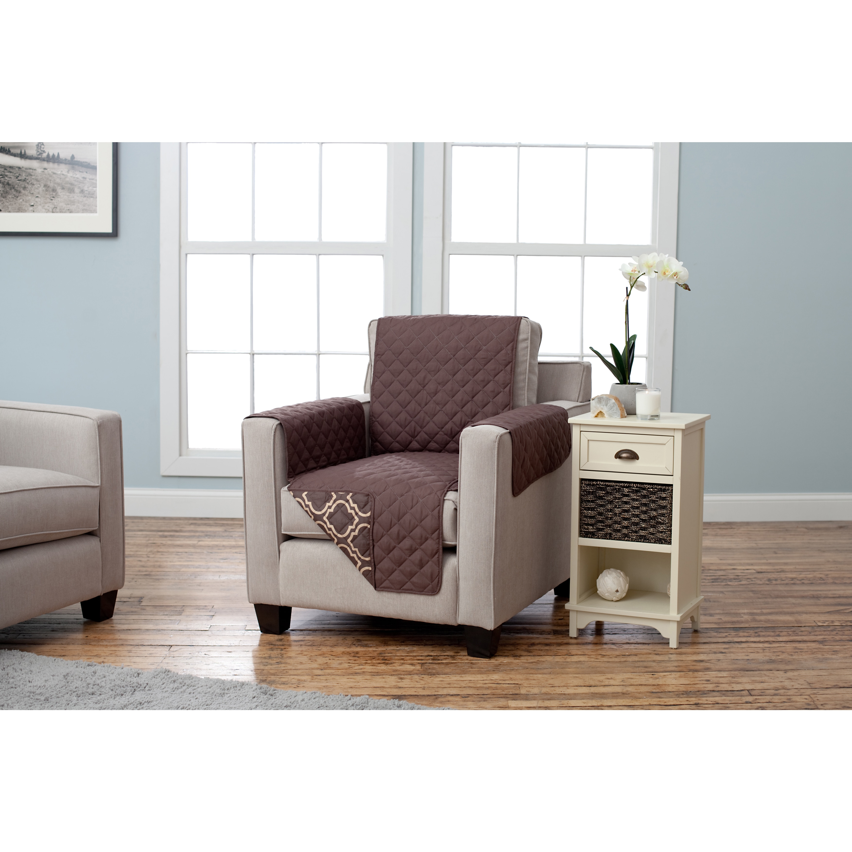 Home Fashion Designs Adalyn Collection Printed Reversible Chair Protector