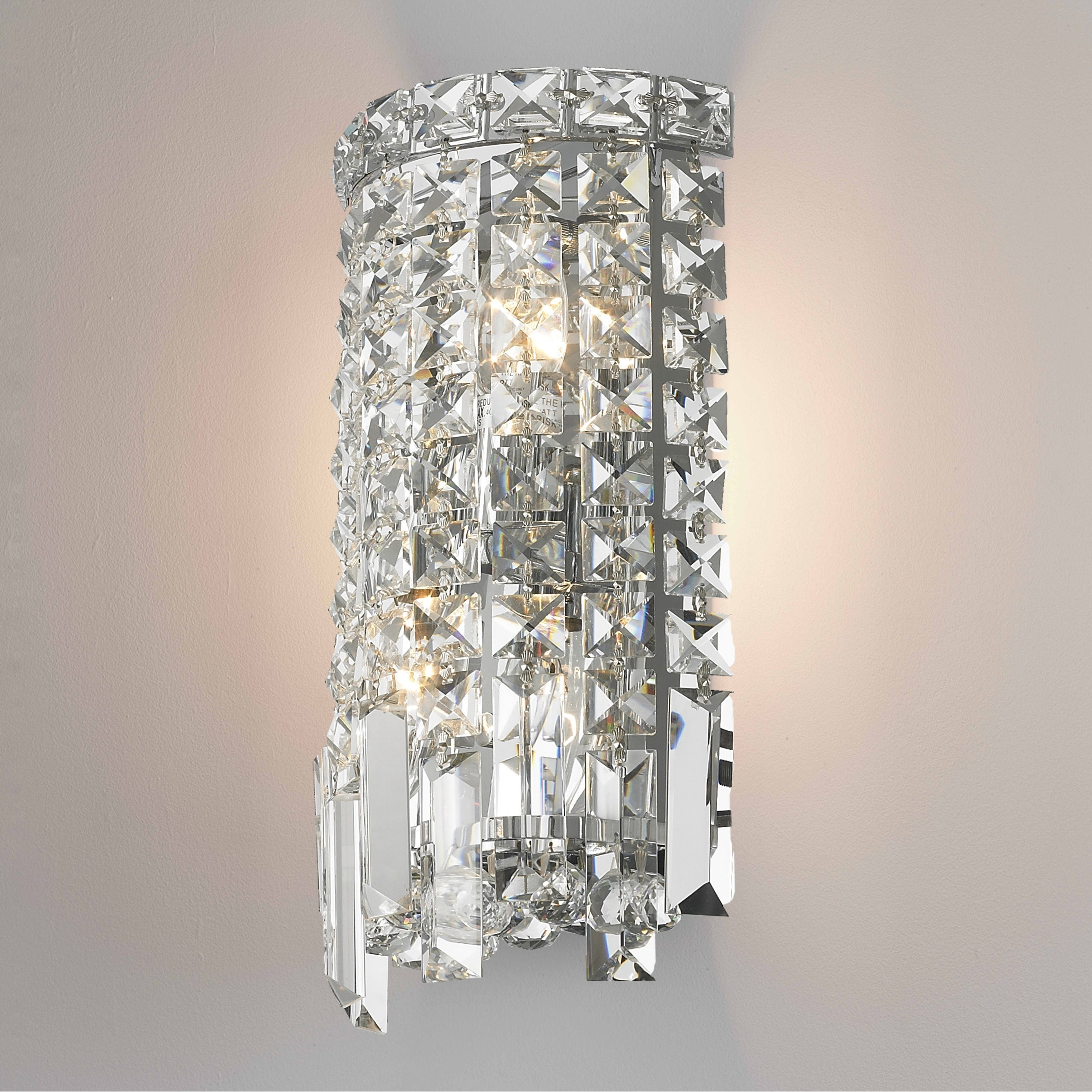 Glam Art Deco Style 2 Light Chrome Finish And Clear Crystal 6 Inch Wide Small String Wall Sconce On Free Shipping Today