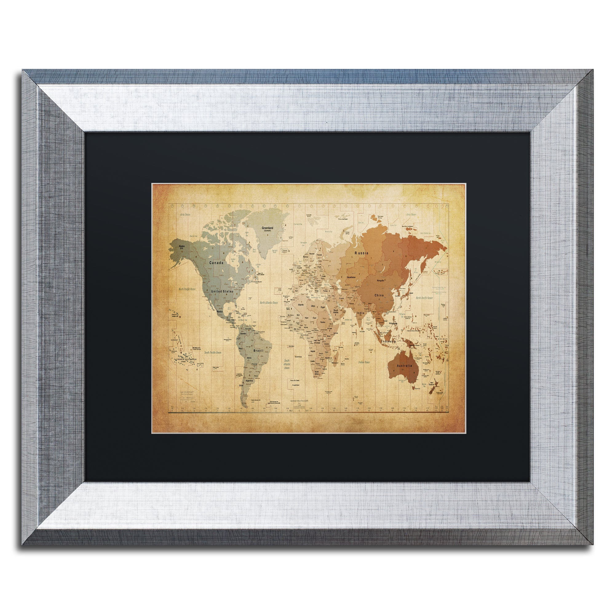 Shop Michael Tompsett \'Time Zones Map of the World\' Black Matte ...