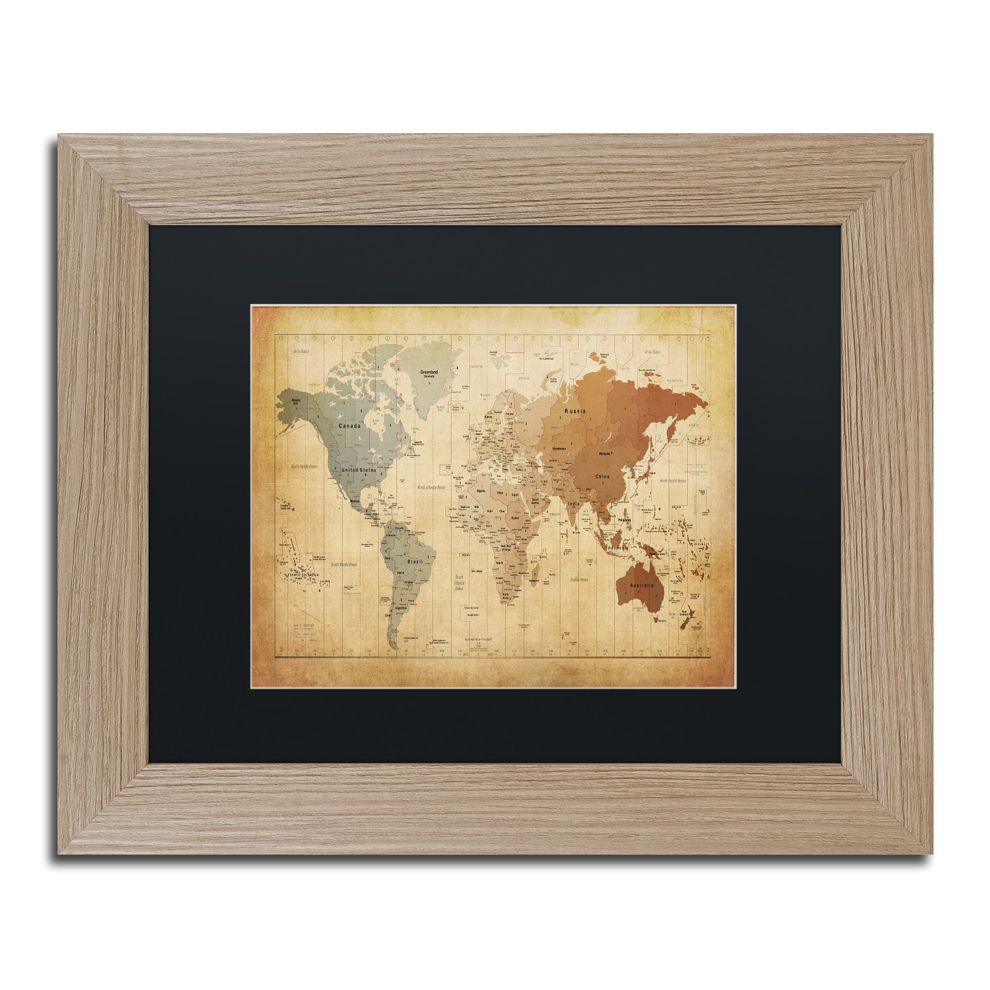 Michael Tompsett \'Time Zones Map of the World\' Black Matte, Birch ...