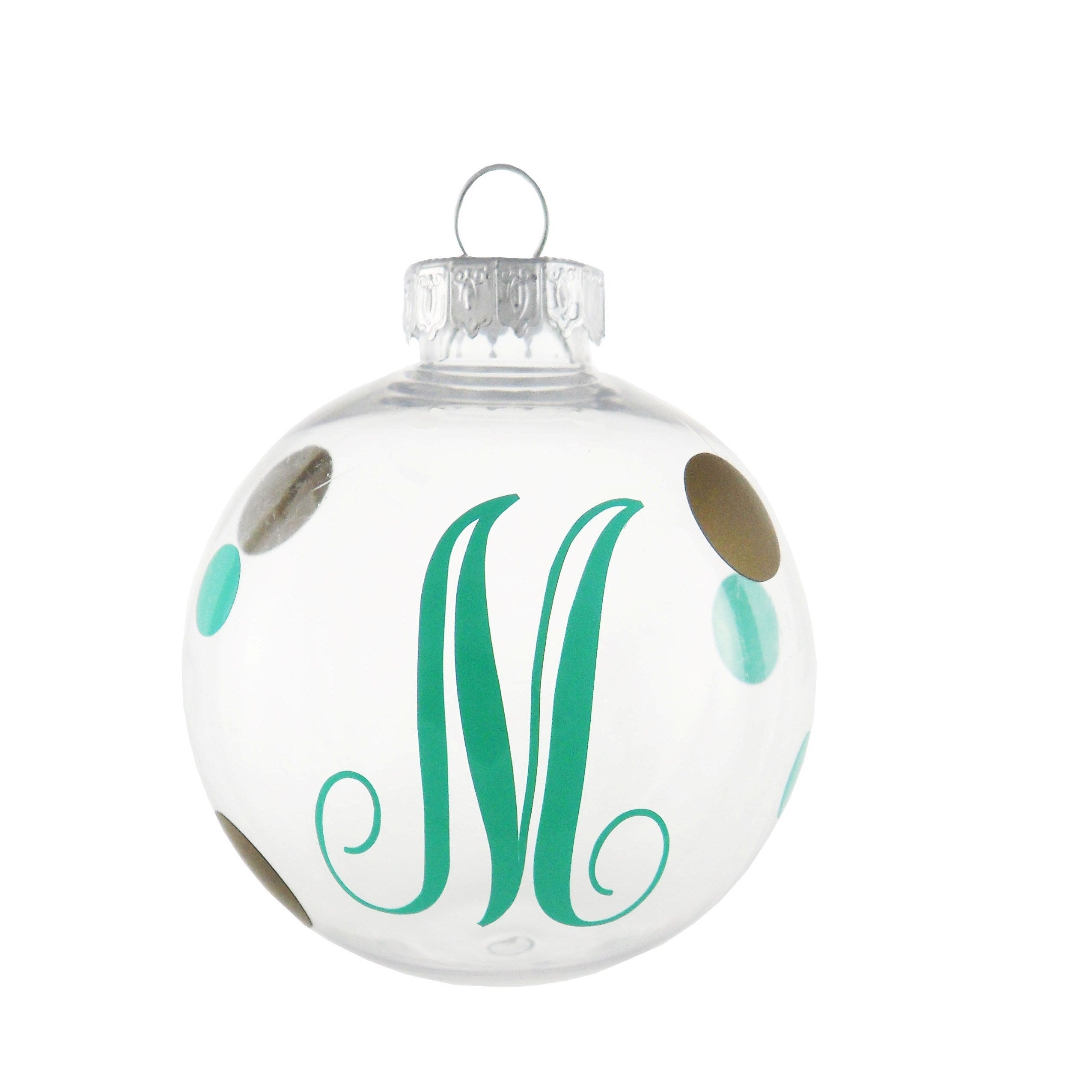 Shop Mint and Gold Dots Monogram Initial Ornament - Free Shipping On ...