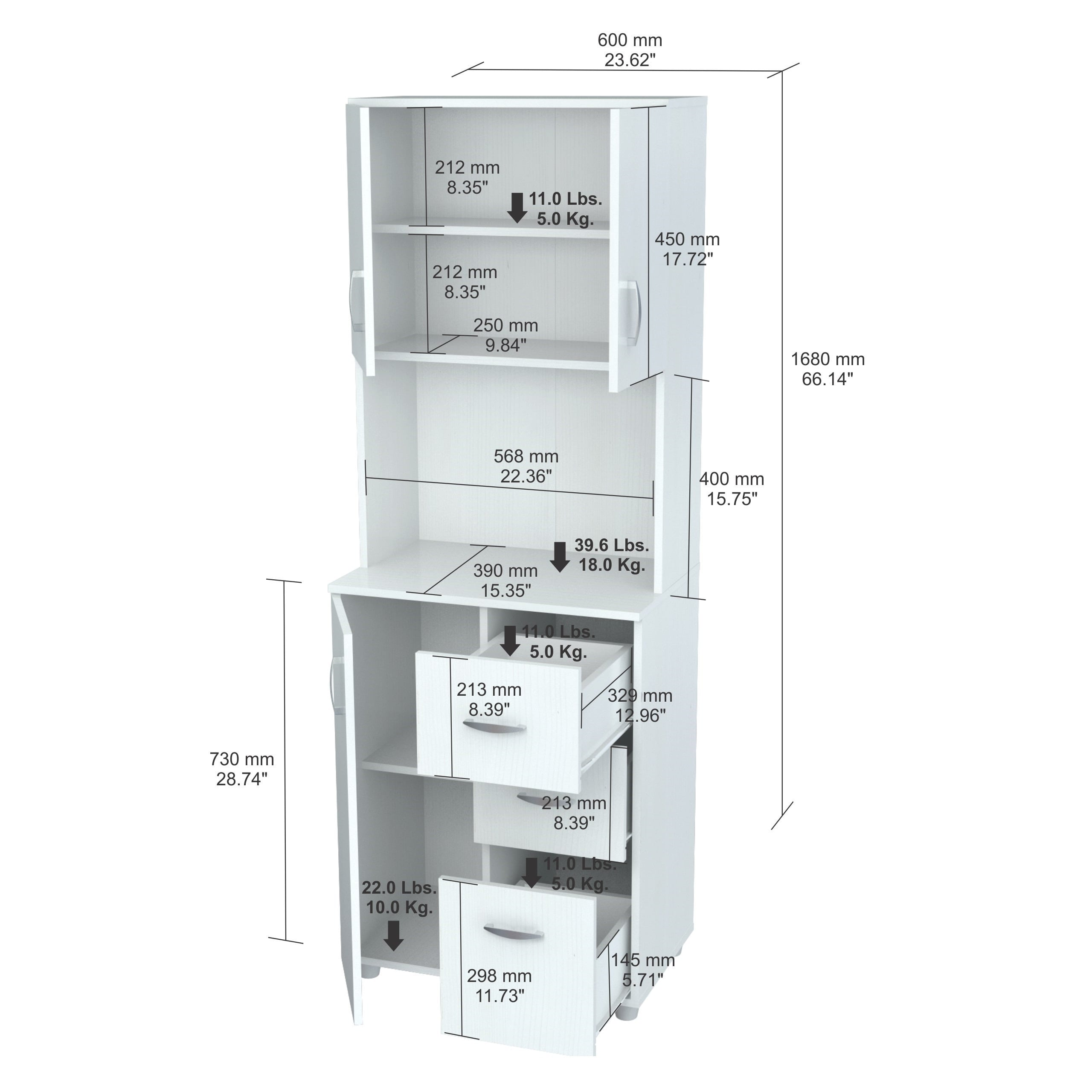 Shop Inval America Larcinia White Laminate/Wood Kitchen Storage Cabinet    Free Shipping Today   Overstock.com   10698433