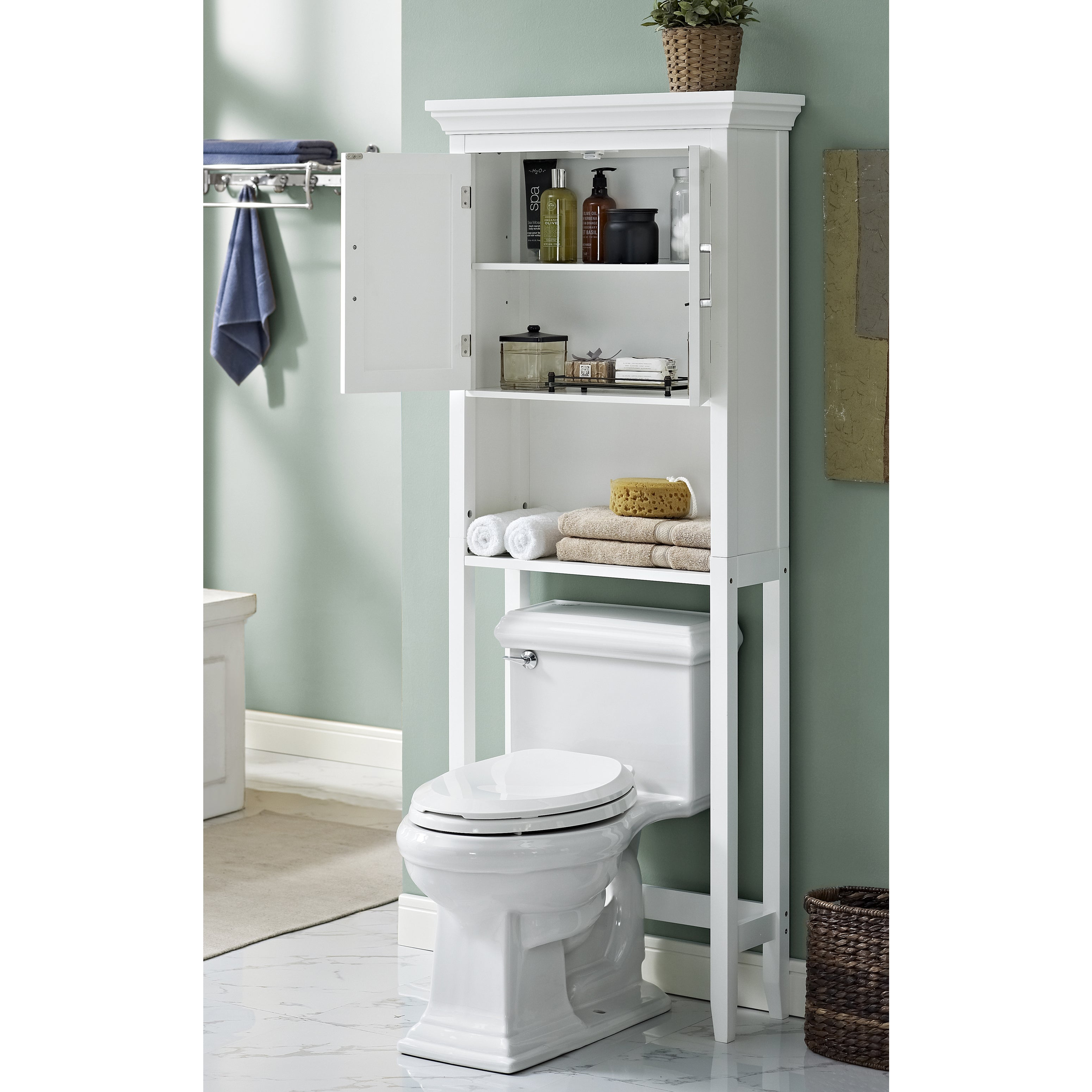 WYNDENHALL Hayes White Bathroom Space Saver Cabinet   Free Shipping Today    Overstock.com   17759916