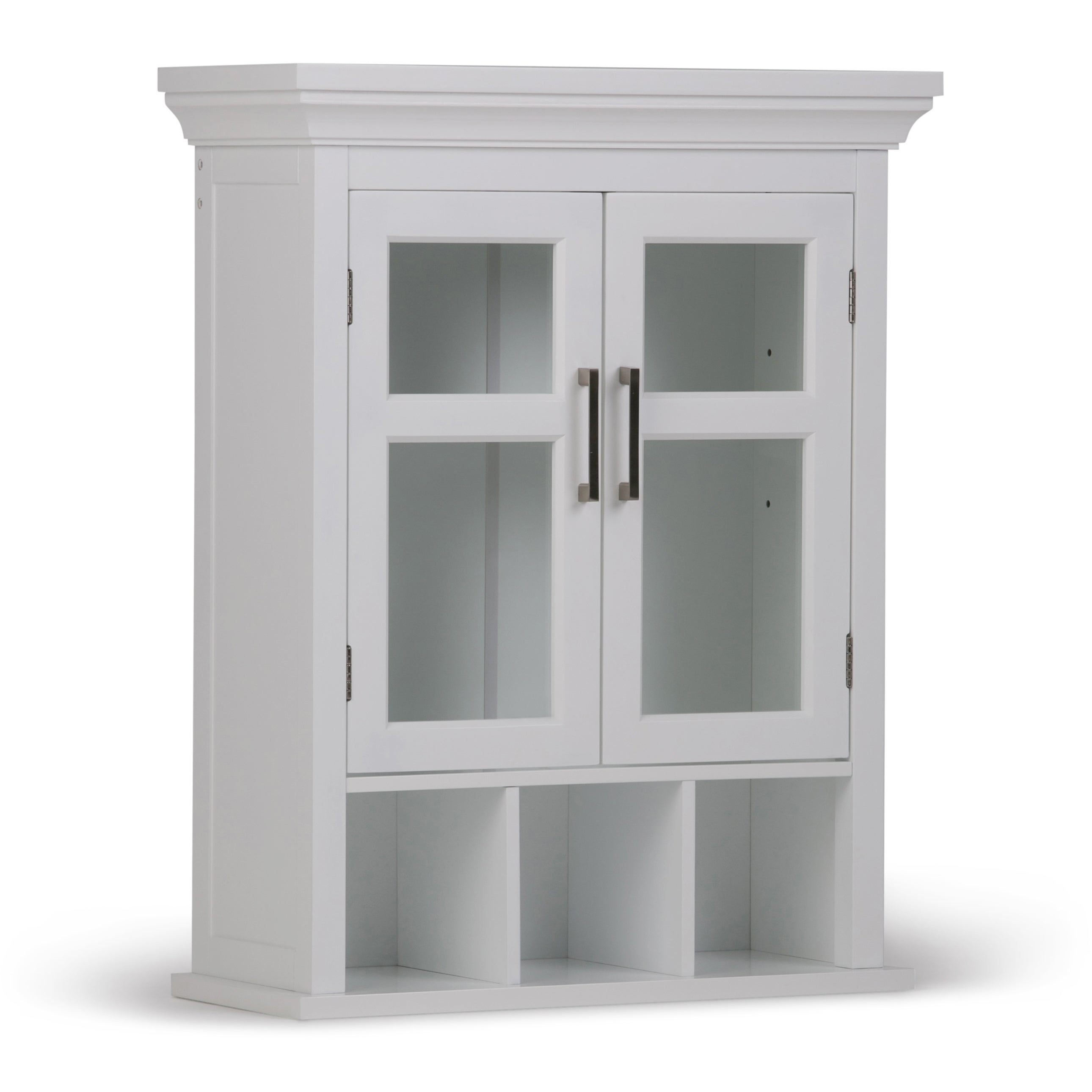 WYNDENHALL Hayes Two Door Bathroom Wall Cabinet With Cubbies In White    Free Shipping Today   Overstock.com   17761304