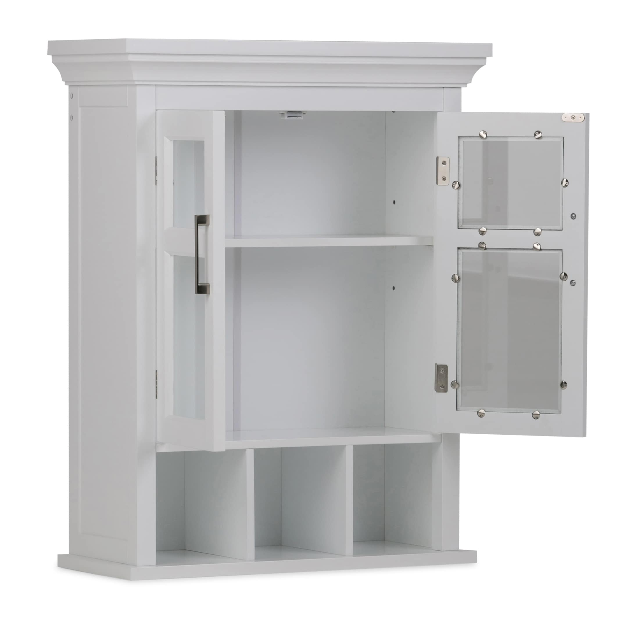 WyndenHall Hayes White Two-Door Bathroom Wall Cabinet with Cubbies ...