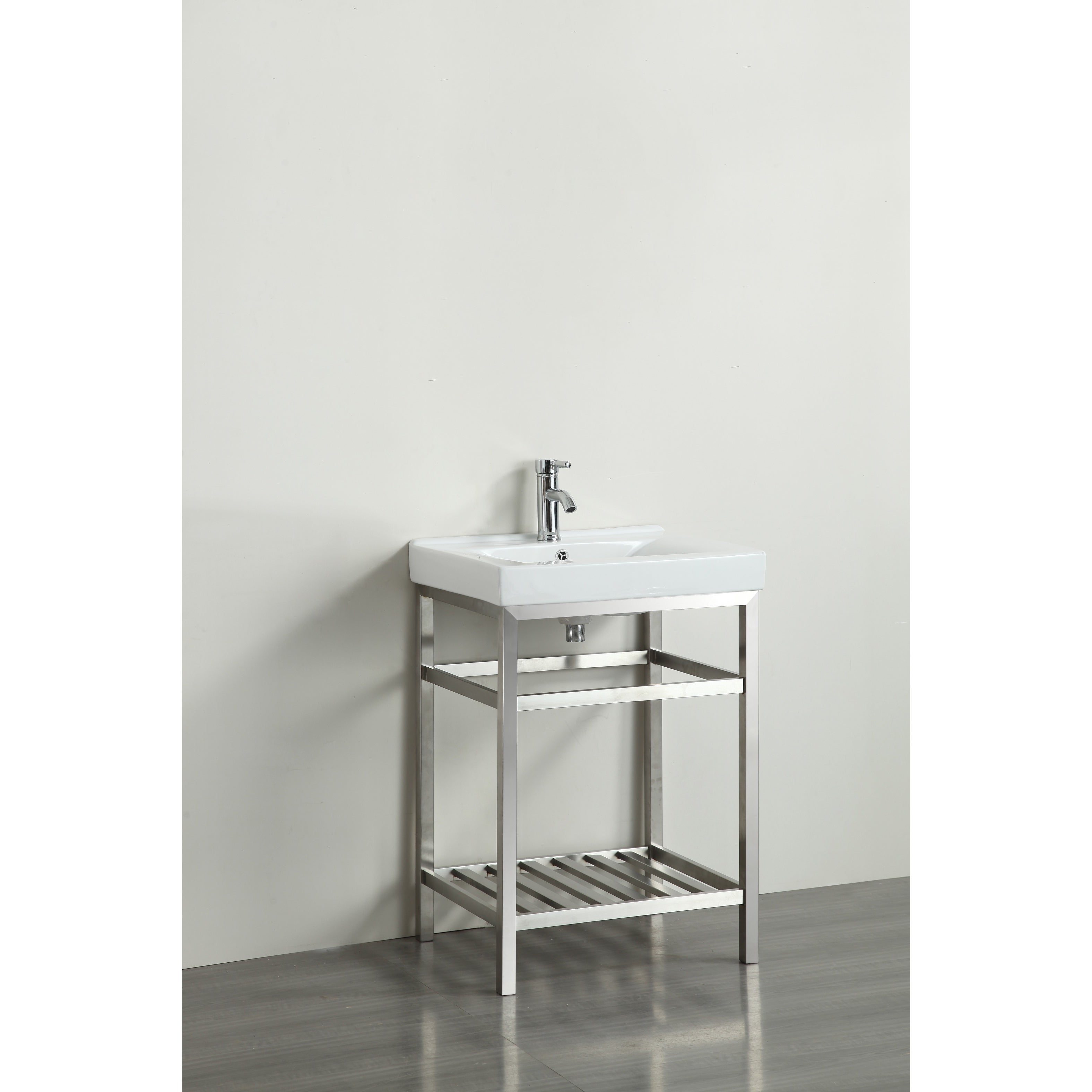 Shop Eviva Stone 24-inch Bathroom Vanity Stainless Steel with White ...