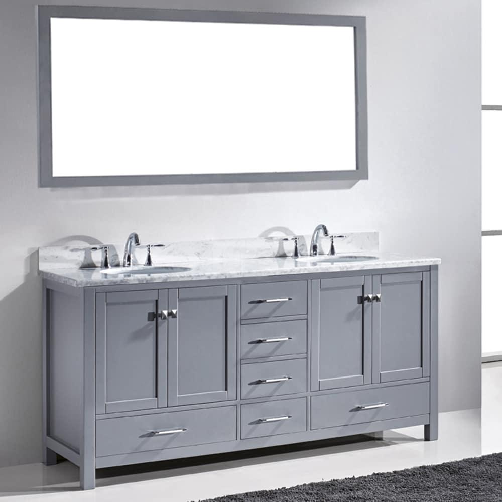 Virtu Usa Caroline Avenue 72 Inch White Marble Double Bathroom Vanity Set Free Shipping Today 10700998