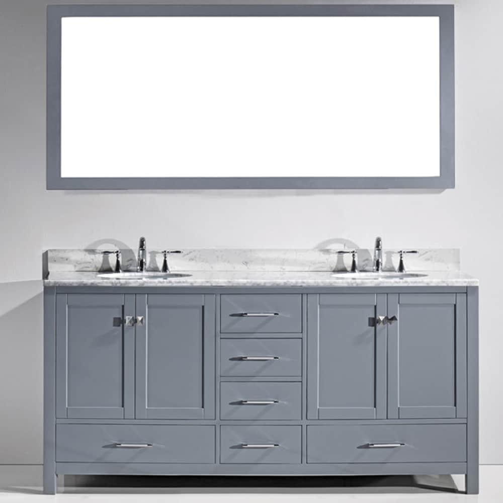 Shop virtu usa caroline avenue 72 inch white marble double bathroom vanity set free shipping today overstock com 10700998