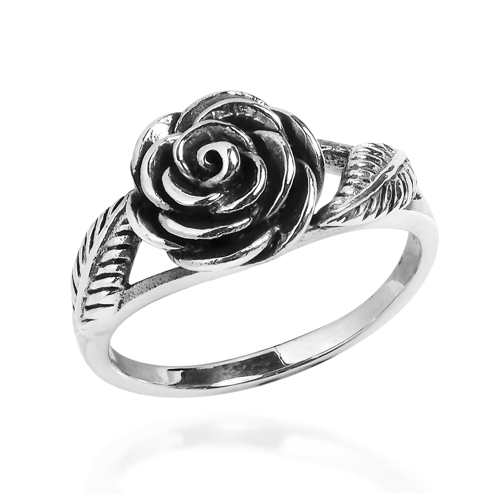 Immortal Rose of Love with Leaves Sterling Silver Ring Thailand