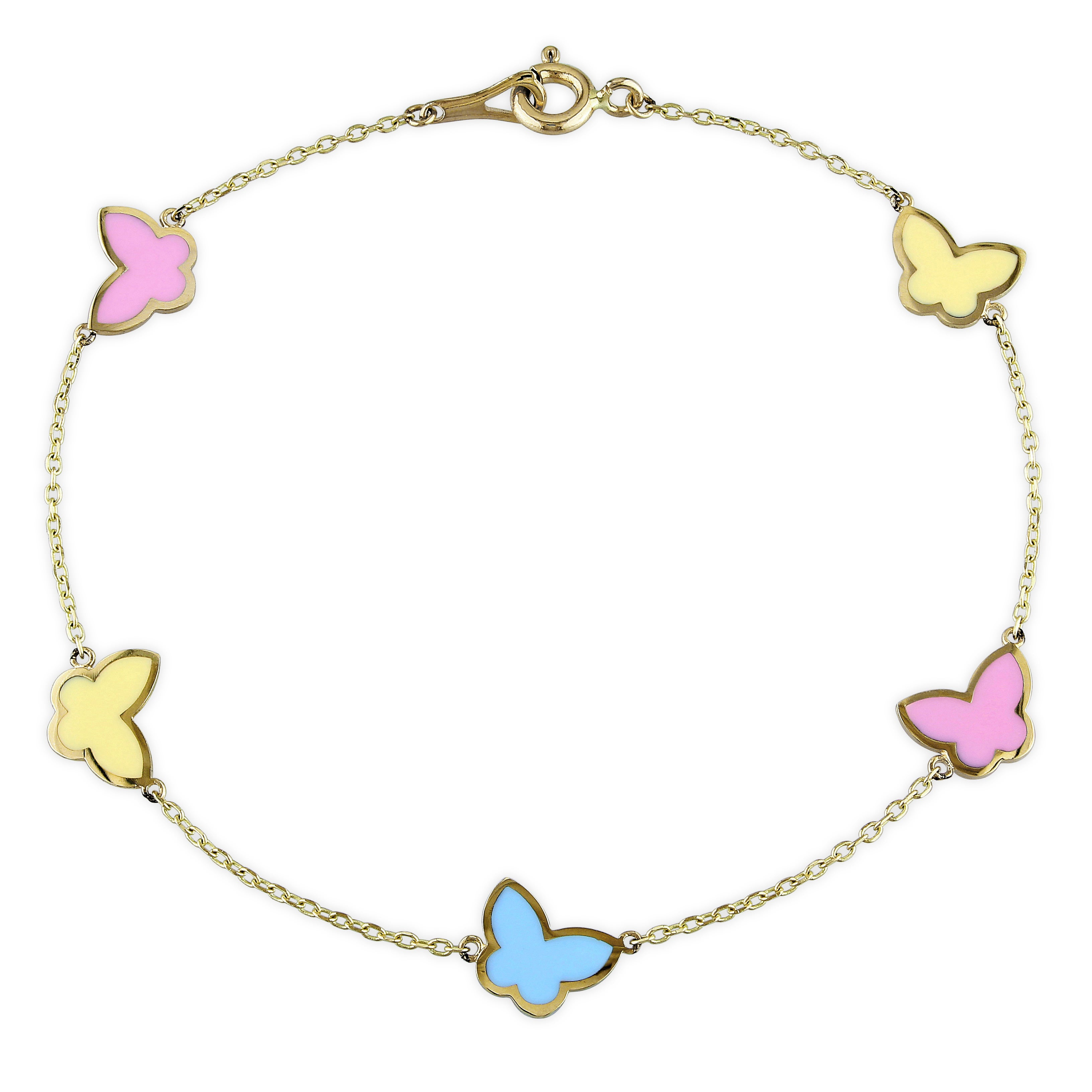 58954cb8b3d8a Miadora 14k Yellow Gold Pink, Blue and Yellow Enamel Butterfly Charm  Bracelet