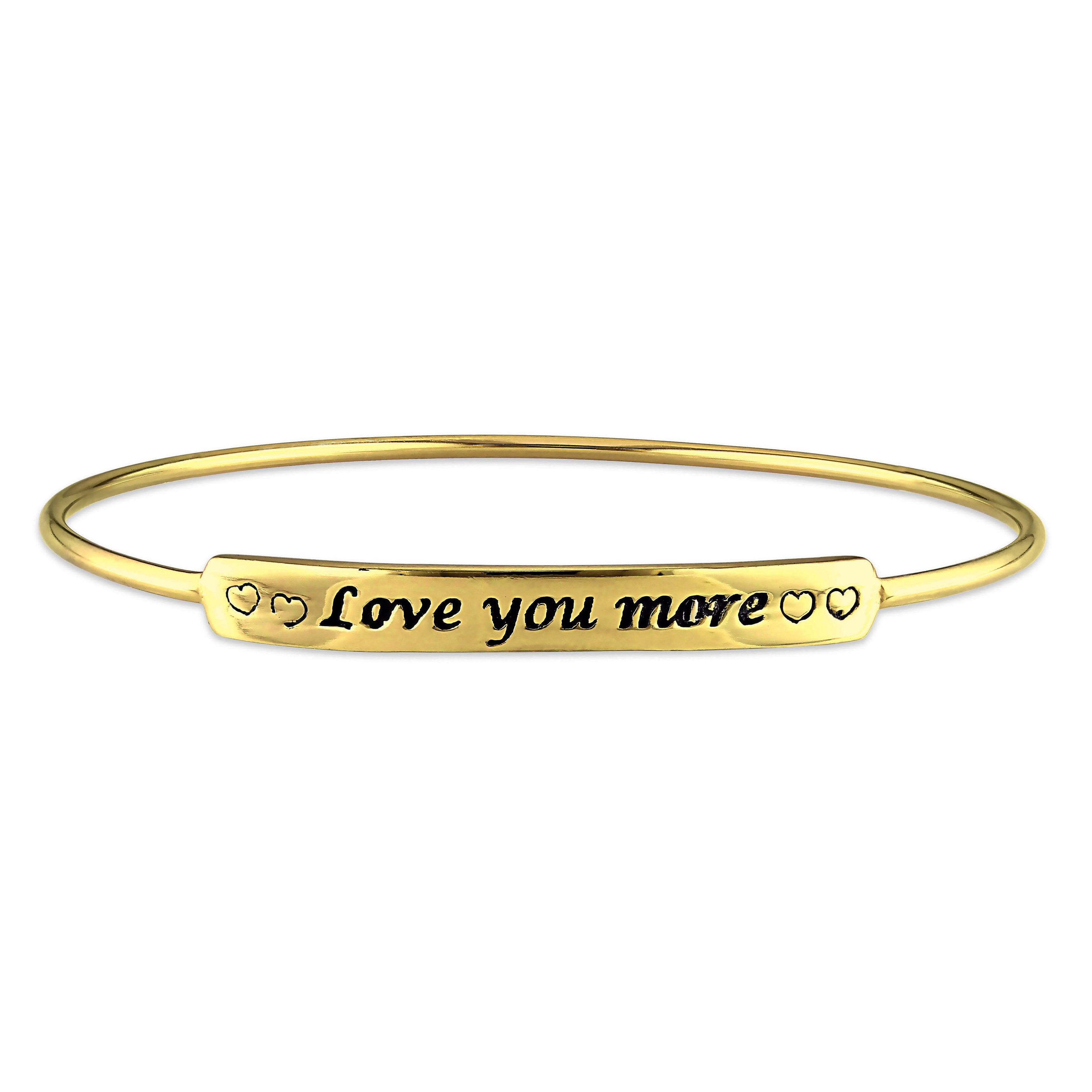 Miadora Yellow Plated Sterling Silver Love You More Id Bangle Bracelet Free Shipping On Orders Over 45 10701506