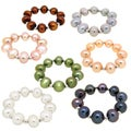 DaVonna Sterling Silver Multi Color Freshwater Pearl Set of 7 Stretch Rings