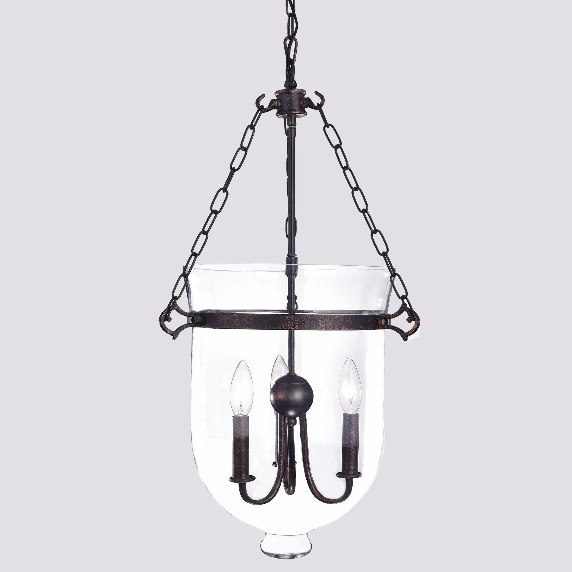 Yamila Antique Copper Glass Lantern Chandelier Free Shipping