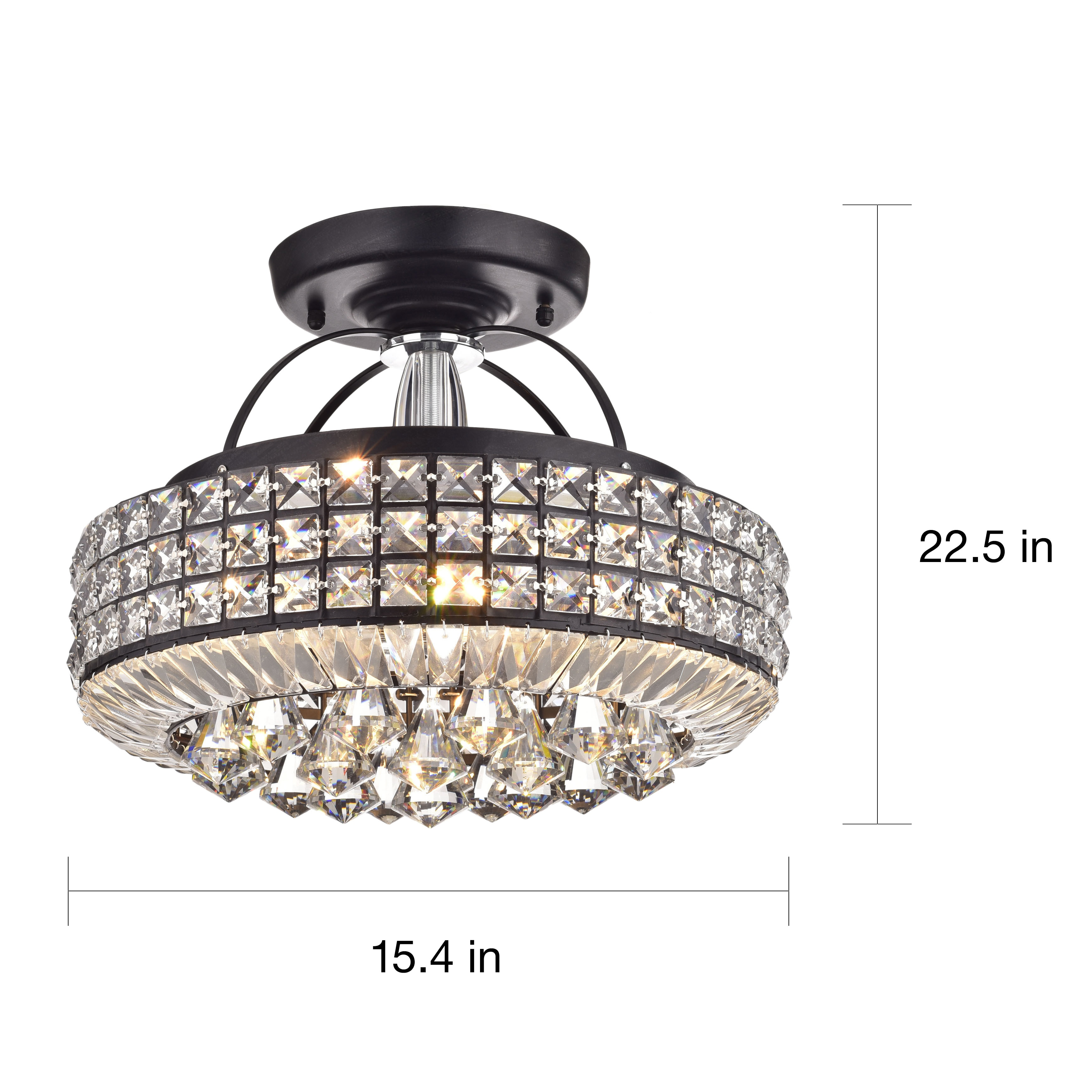 Jolie antique black drum shade crystal semi flush mount chandelier jolie antique black drum shade crystal semi flush mount chandelier free shipping today overstock 17762685 arubaitofo Image collections
