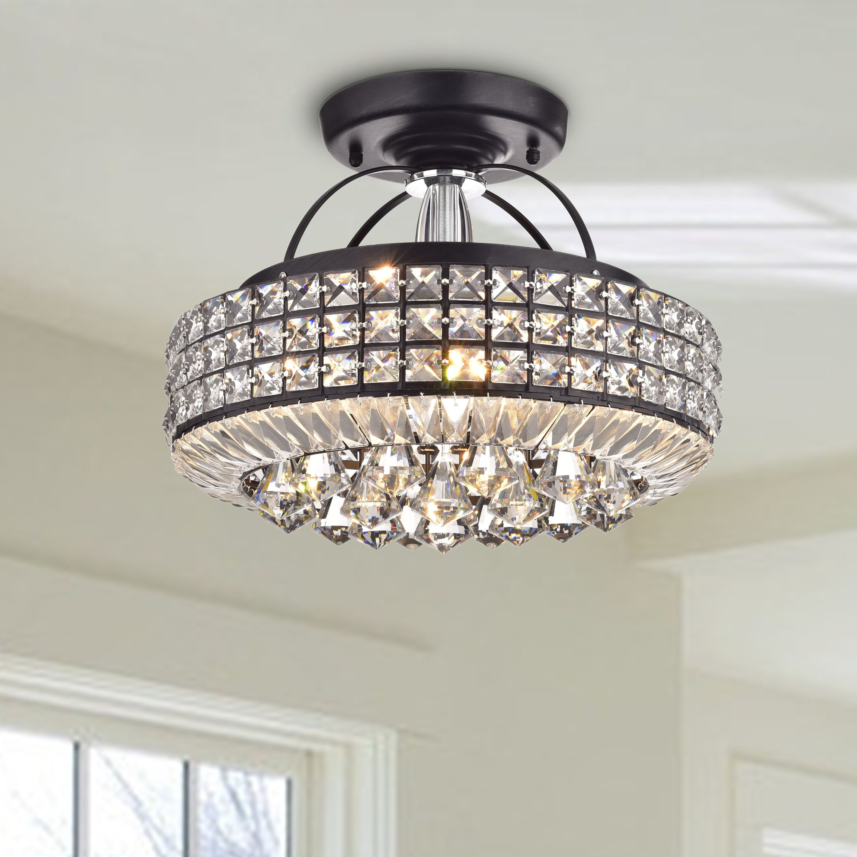 Jolie antique black drum shade crystal semi flush mount chandelier jolie antique black drum shade crystal semi flush mount chandelier free shipping today overstock 17762685 arubaitofo Images