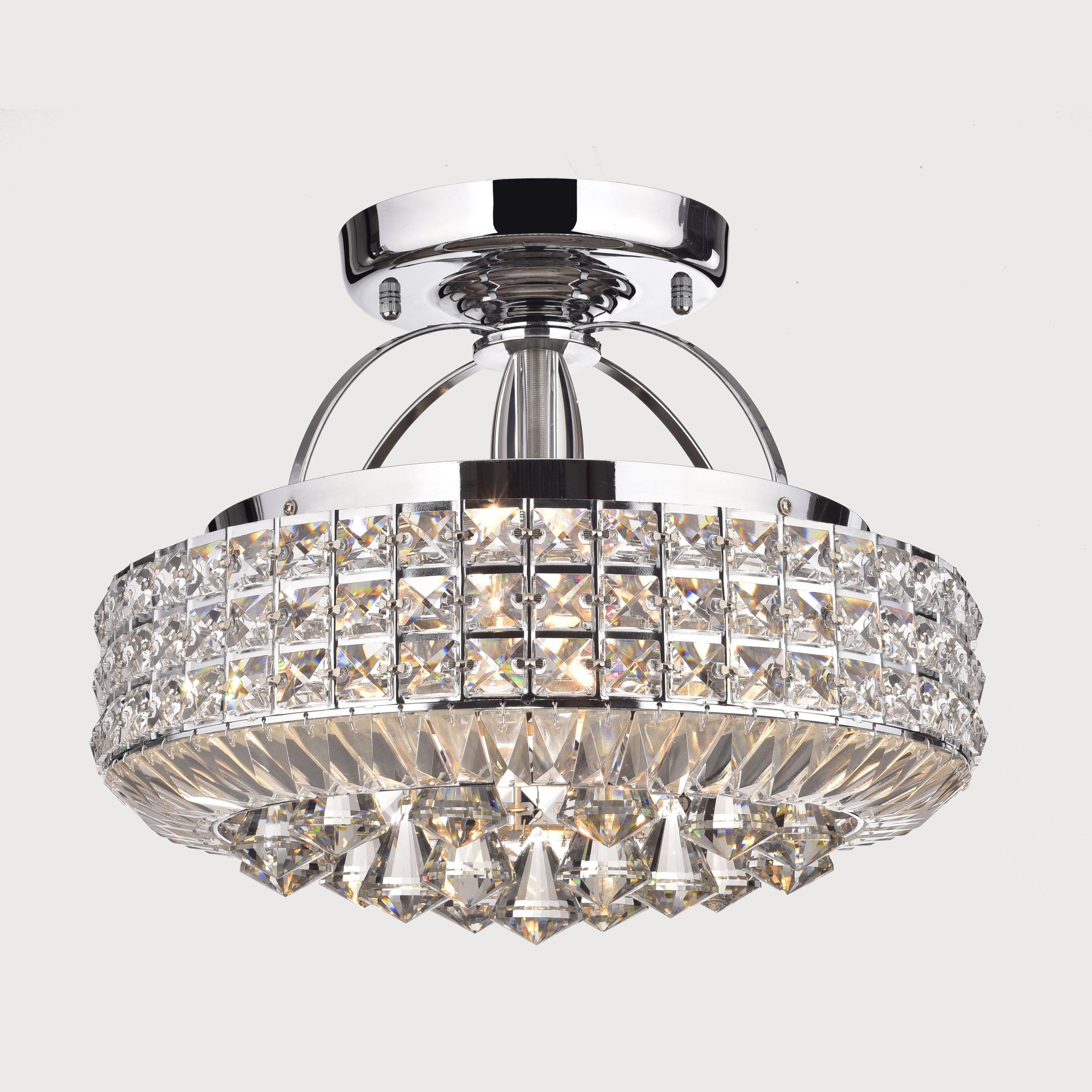 Jolie Chrome Drum Shade Crystal Semi Flush Mount Chandelier Free