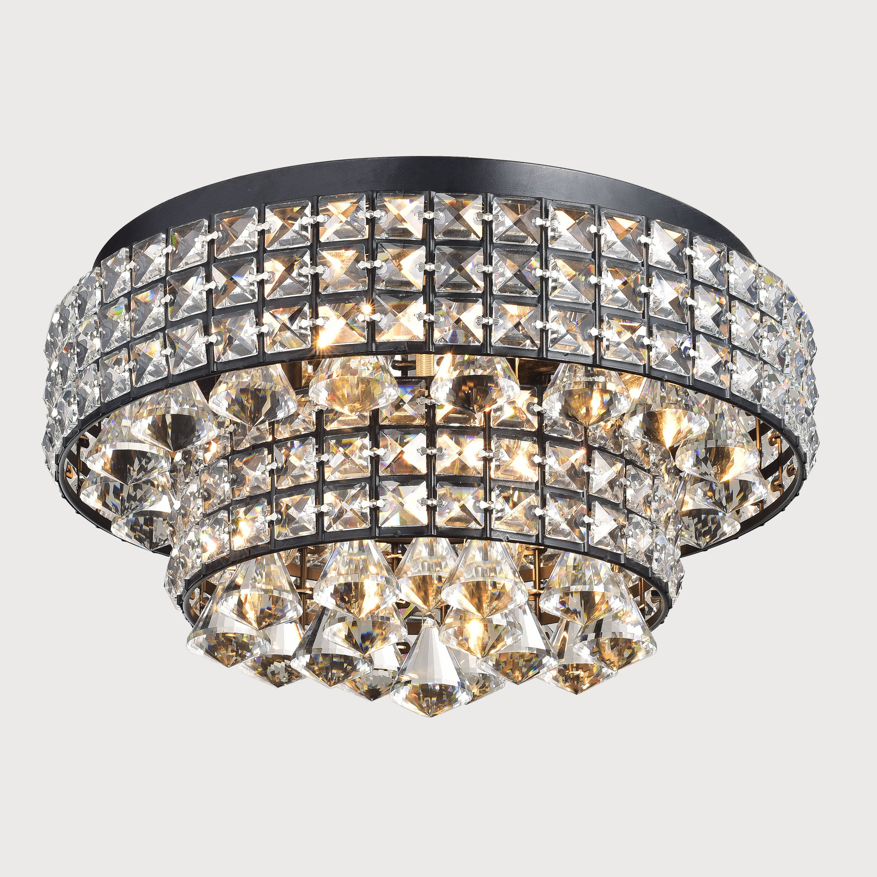 Jolie antique black two tier crystal shades flush mount chandelier jolie antique black two tier crystal shades flush mount chandelier free shipping today overstock 17762689 arubaitofo Images
