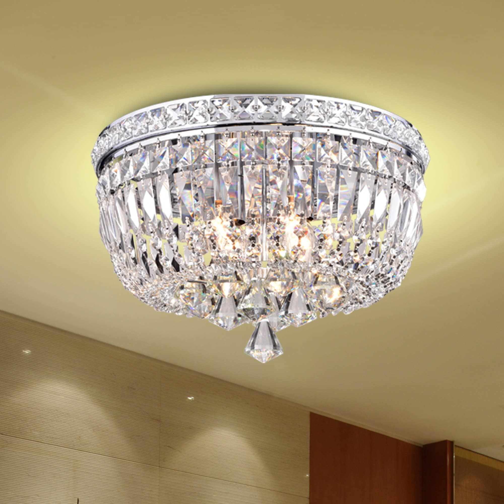 elisa light chrome and crystal flushmount chandelier  free shippingtoday  overstockcom  . elisa light chrome and crystal flushmount chandelier  free