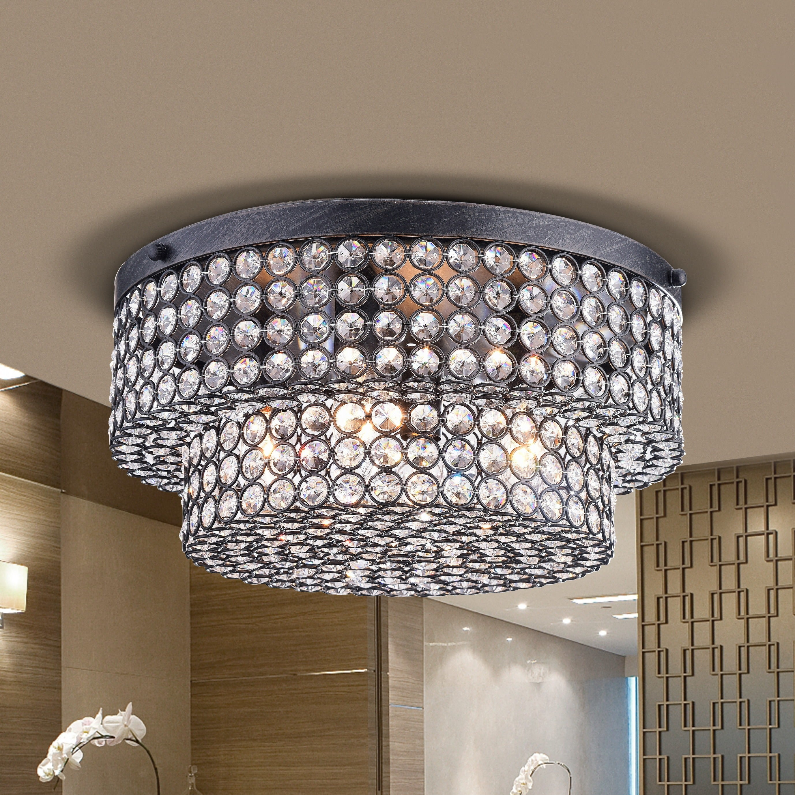 Francisca two tier crystal flush mount chandelier in antique black francisca two tier crystal flush mount chandelier in antique black free shipping today overstock 17762692 arubaitofo Image collections