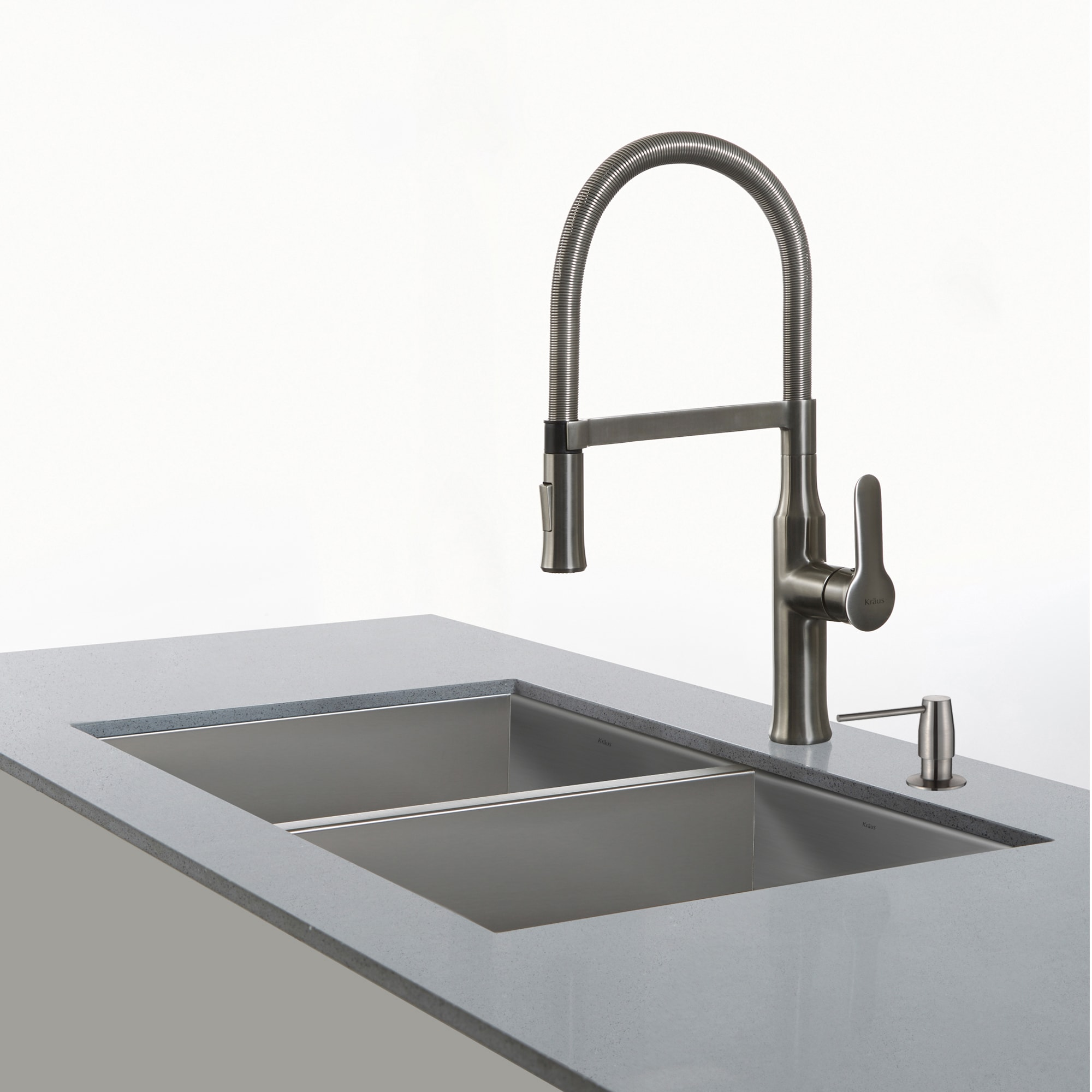 farmhouse single bowl stainless soap finish kraus sink with steel dp and kitchen dispenser faucet
